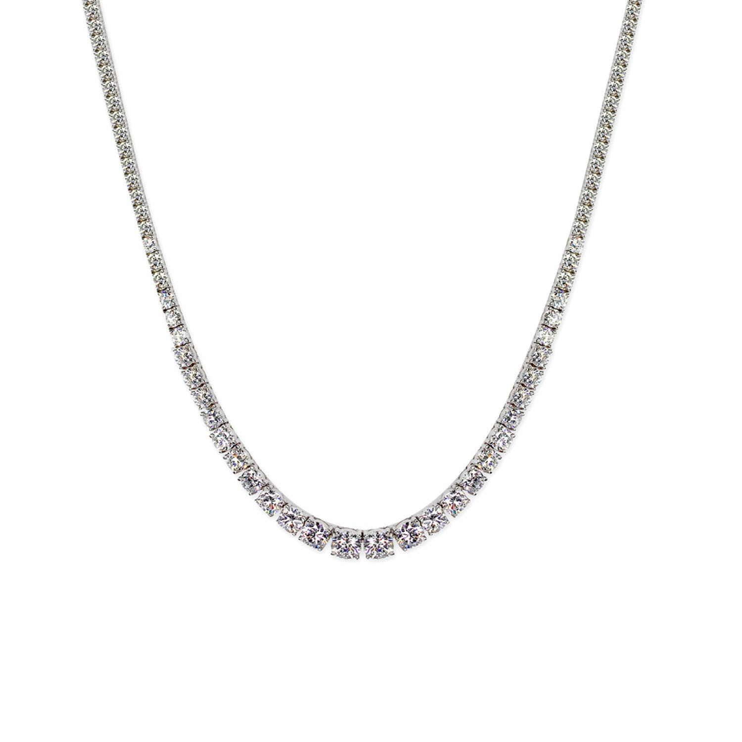 CARAT* London Sterling Silver Graduated Tennis Necklace Featuring Small Round Brilliant Cut CARAT* Stones
