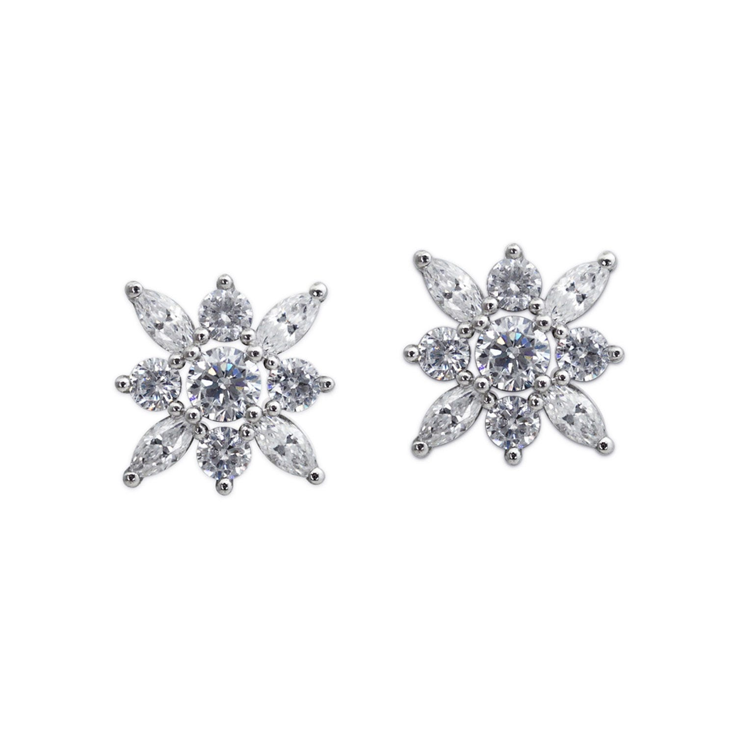 CARAT* London Snowflower Collection Sterling Silver Camelia Studs