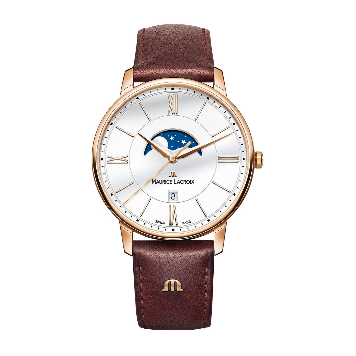 Maurice Lacroix Eliros Moonphase Men's Brown Leather Strap Watch