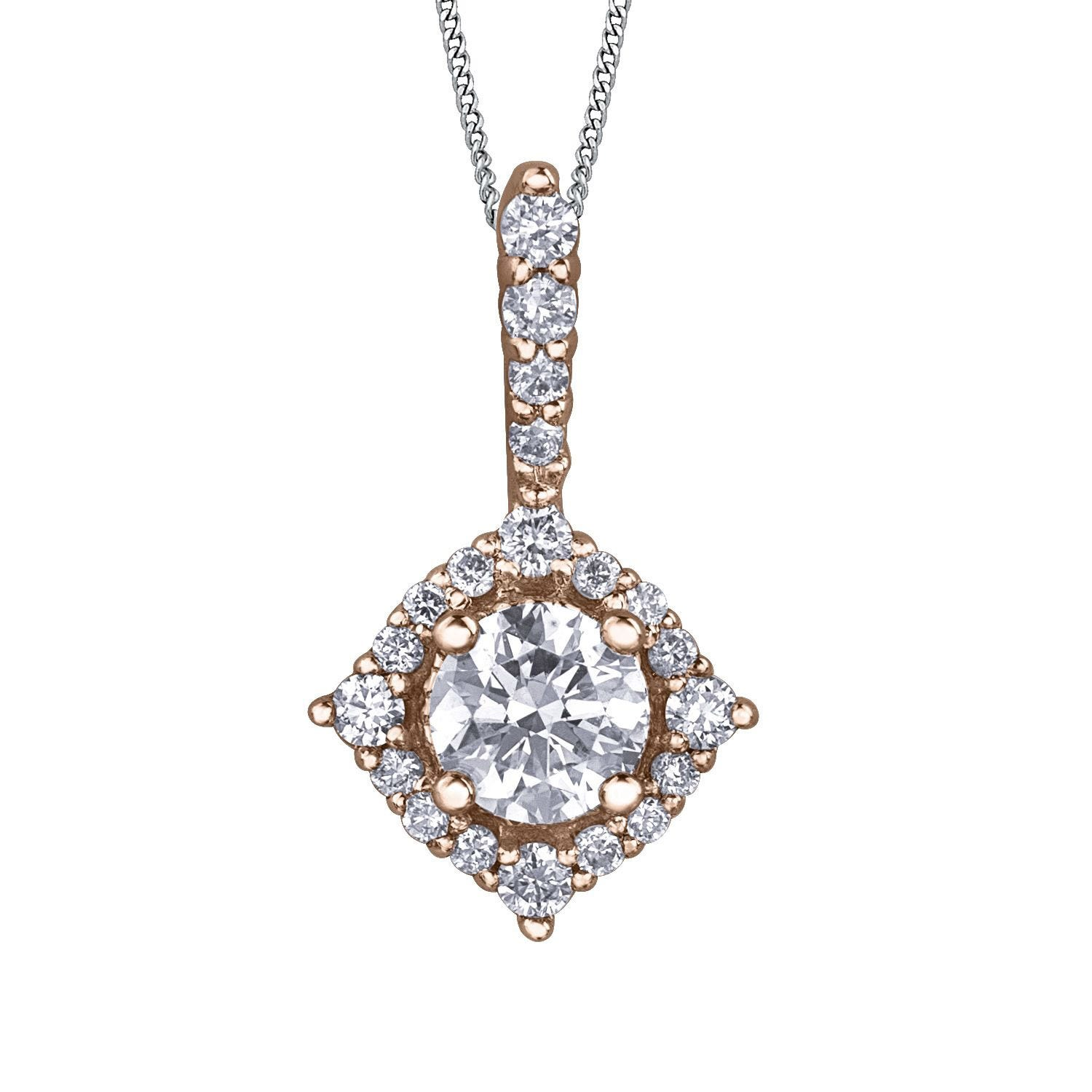 Northern Star Special Order 0.33ct Diamond 18ct Rose Gold Halo Pendant