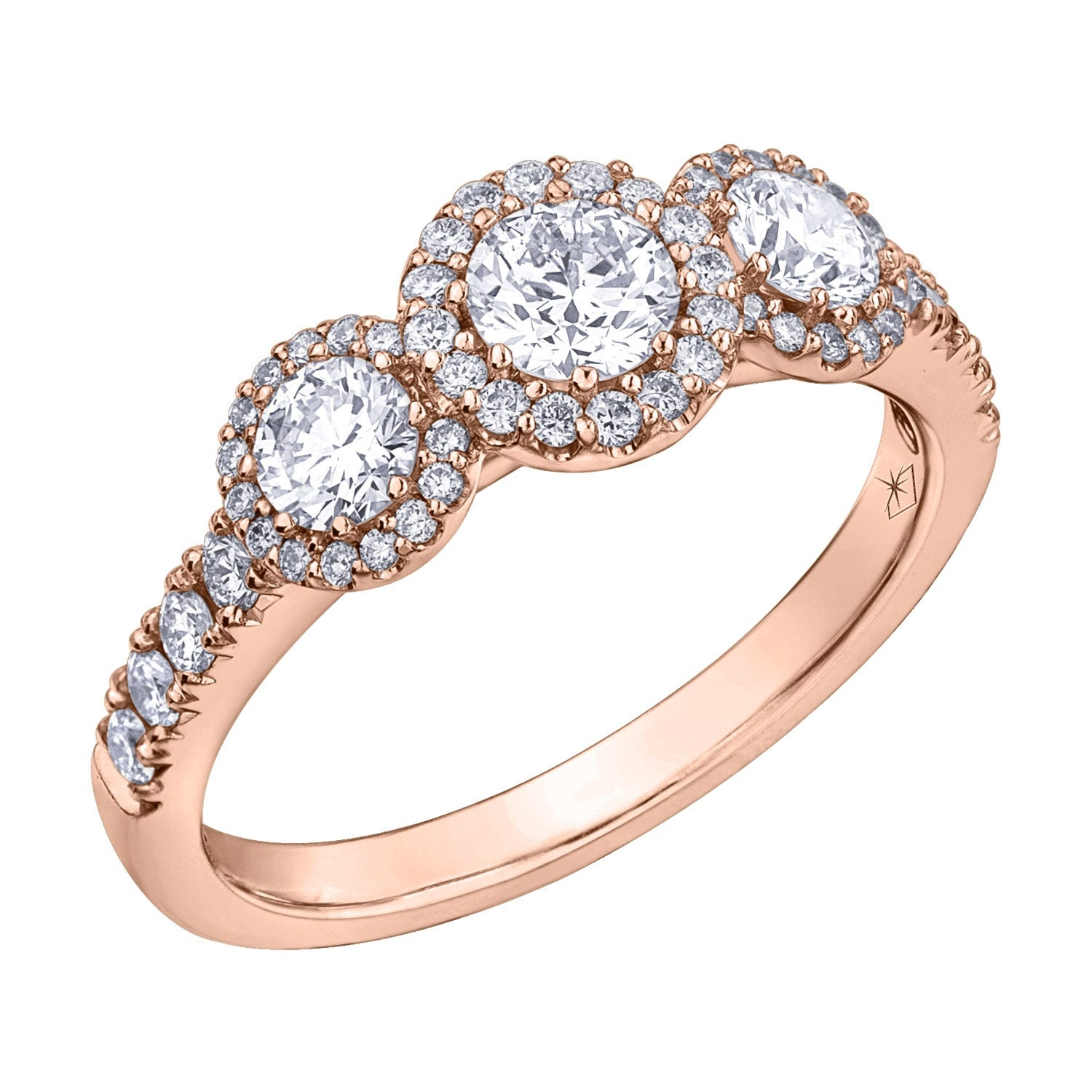 Northern Star Special Order 1.00ct Diamond 18ct Rose Gold Trilogy Ring