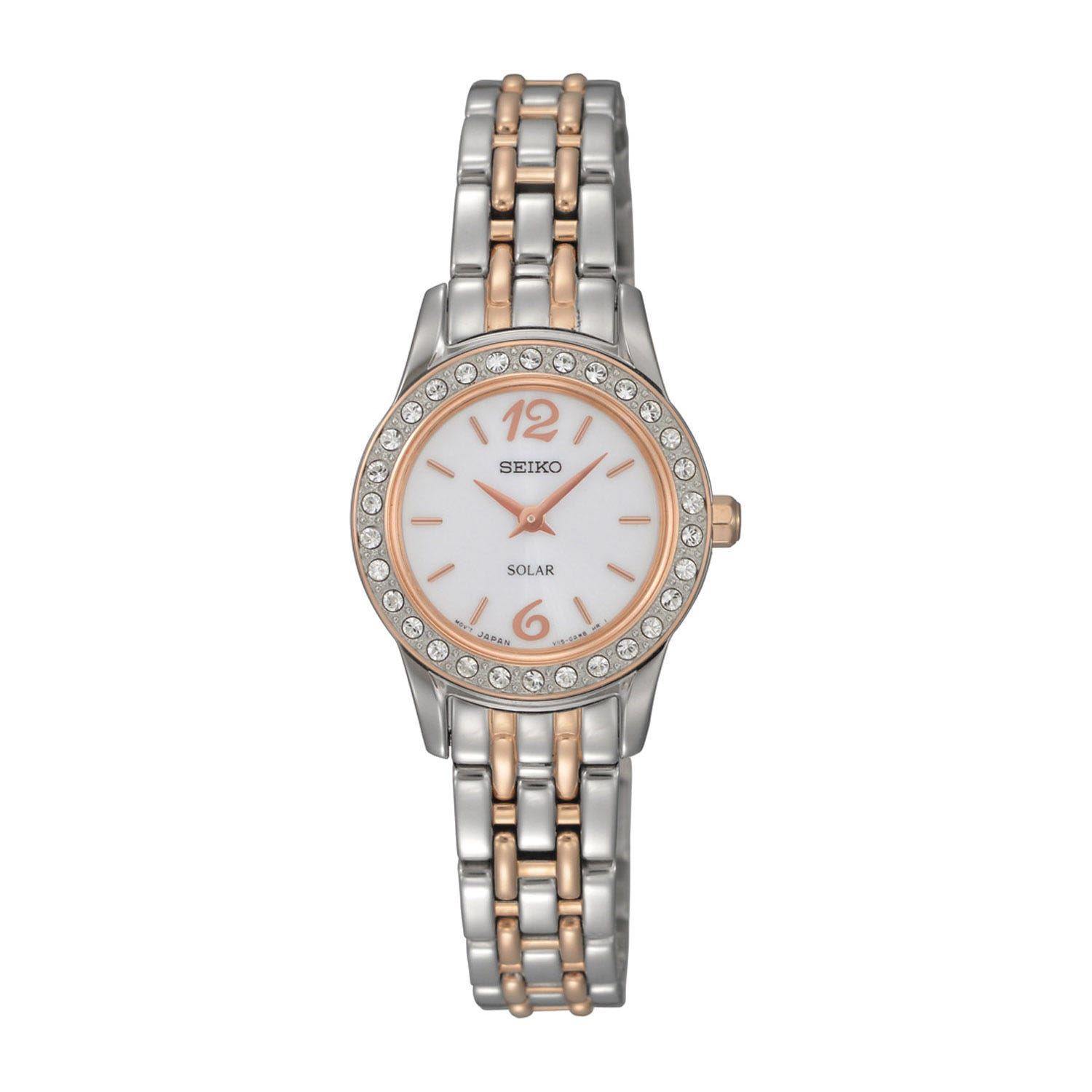 Seiko Solar Ladies Rose Gold and Steel Bracelet Watch
