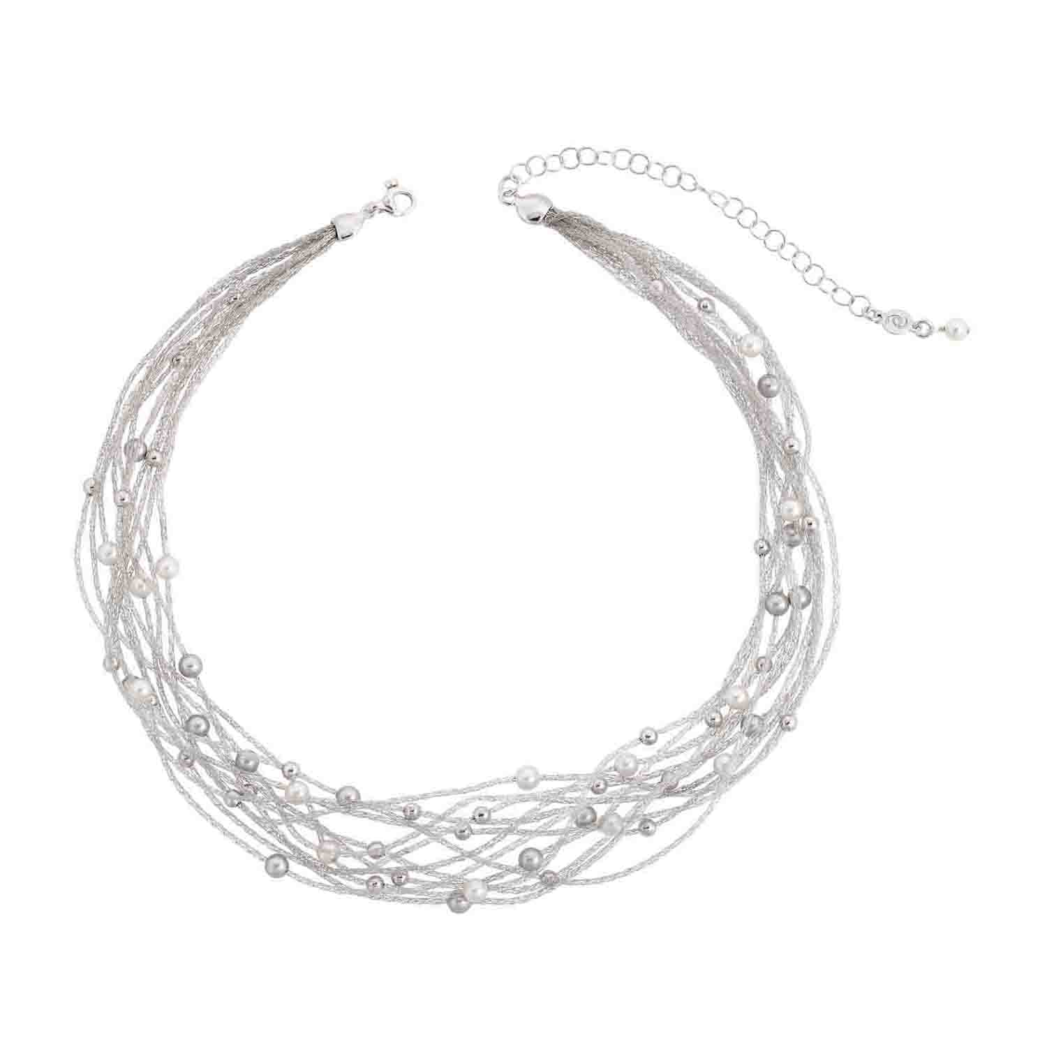 Eclat Verve Sterling Silver and Fresh Water Pearl 10 Strand Necklace