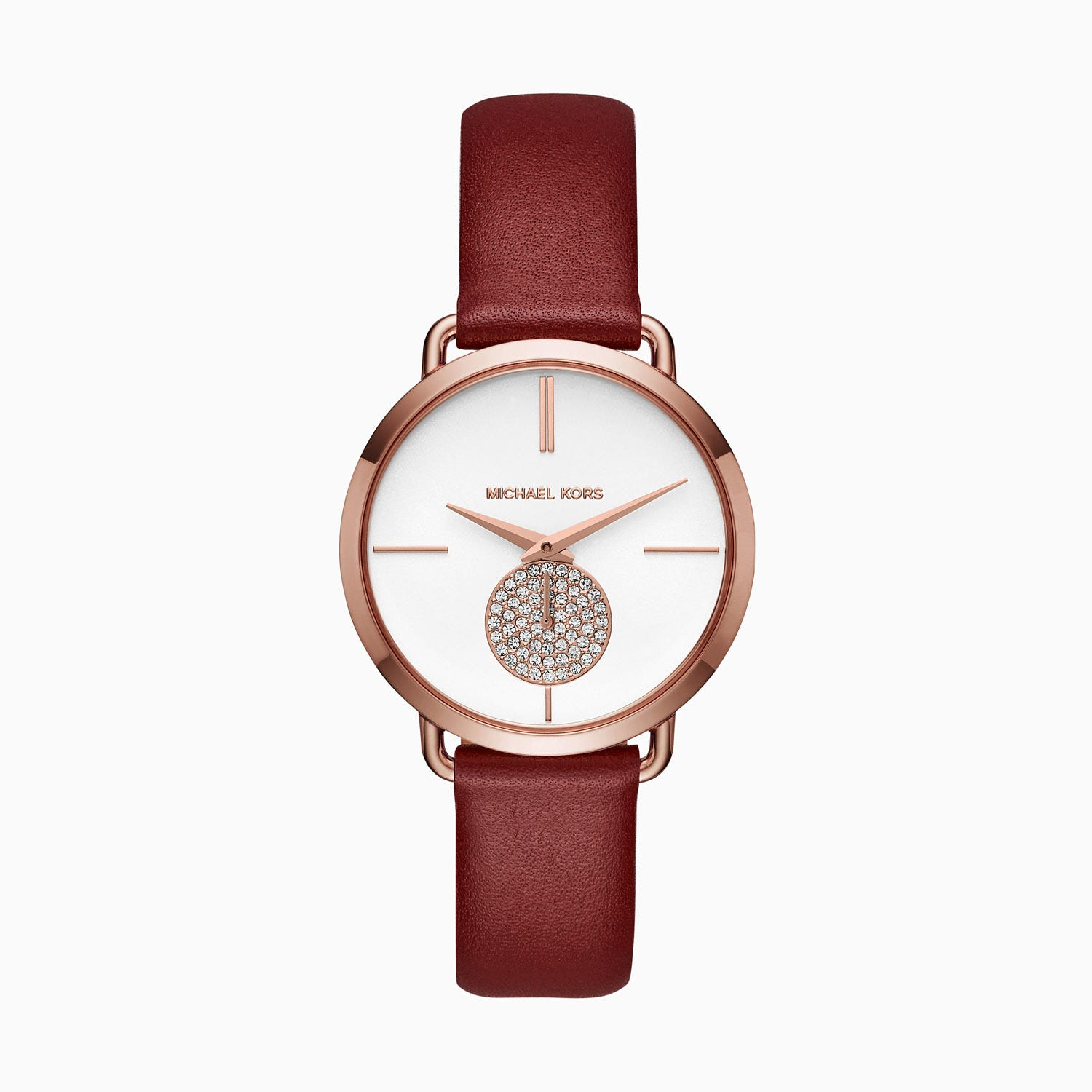 Michael Kors Portia Rose Gold Plated Red Strap Ladies Watch