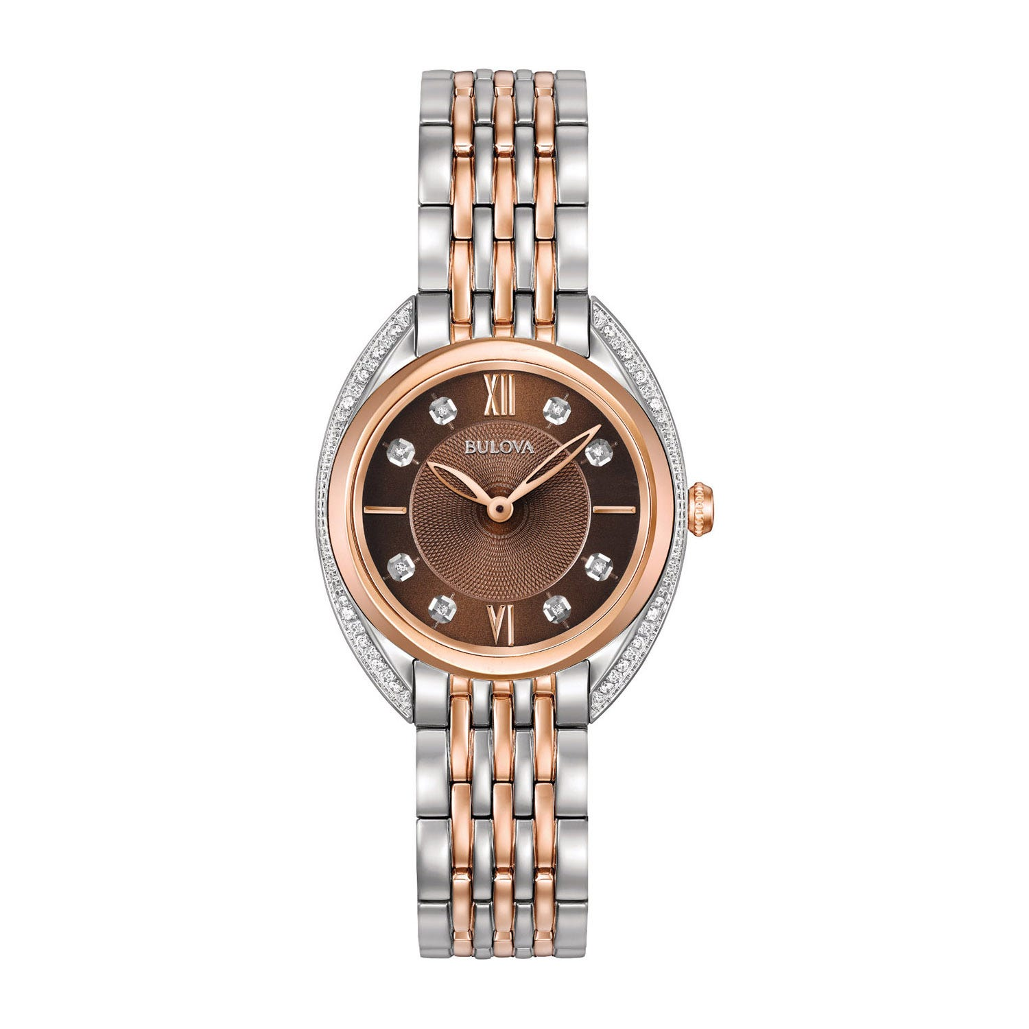Bulova Brown Dial Rose Gold PVD Ladies Diamond Watch
