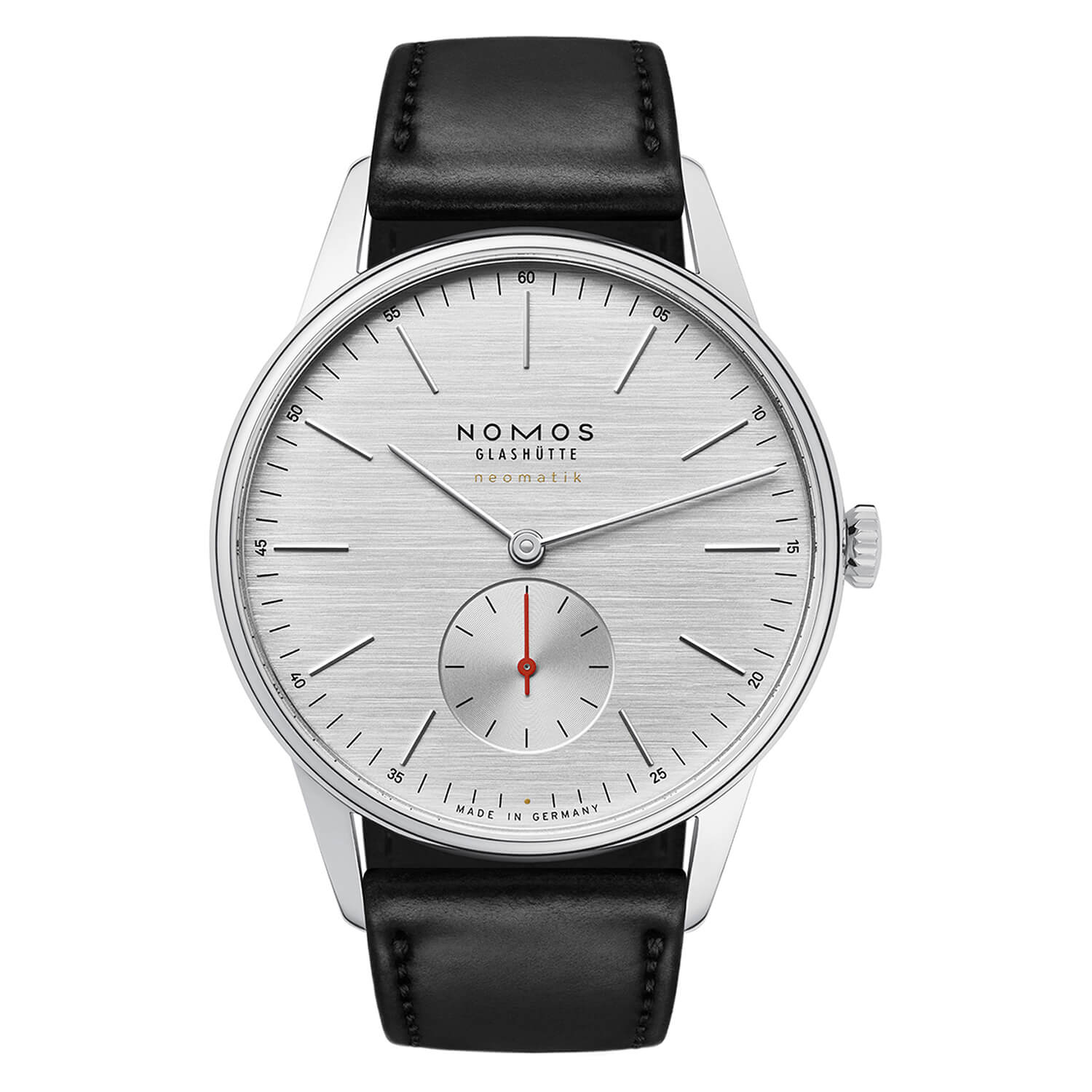 NOMOS Orion Neomatik 39 Silvercut Mens Black Strap Watch
