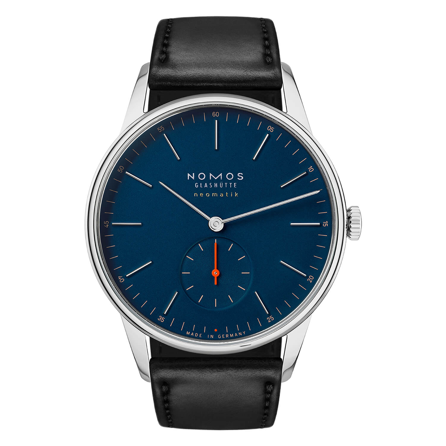 NOMOS Orion Neomatik 39 Midnight Blue Mens Black Strap Watch