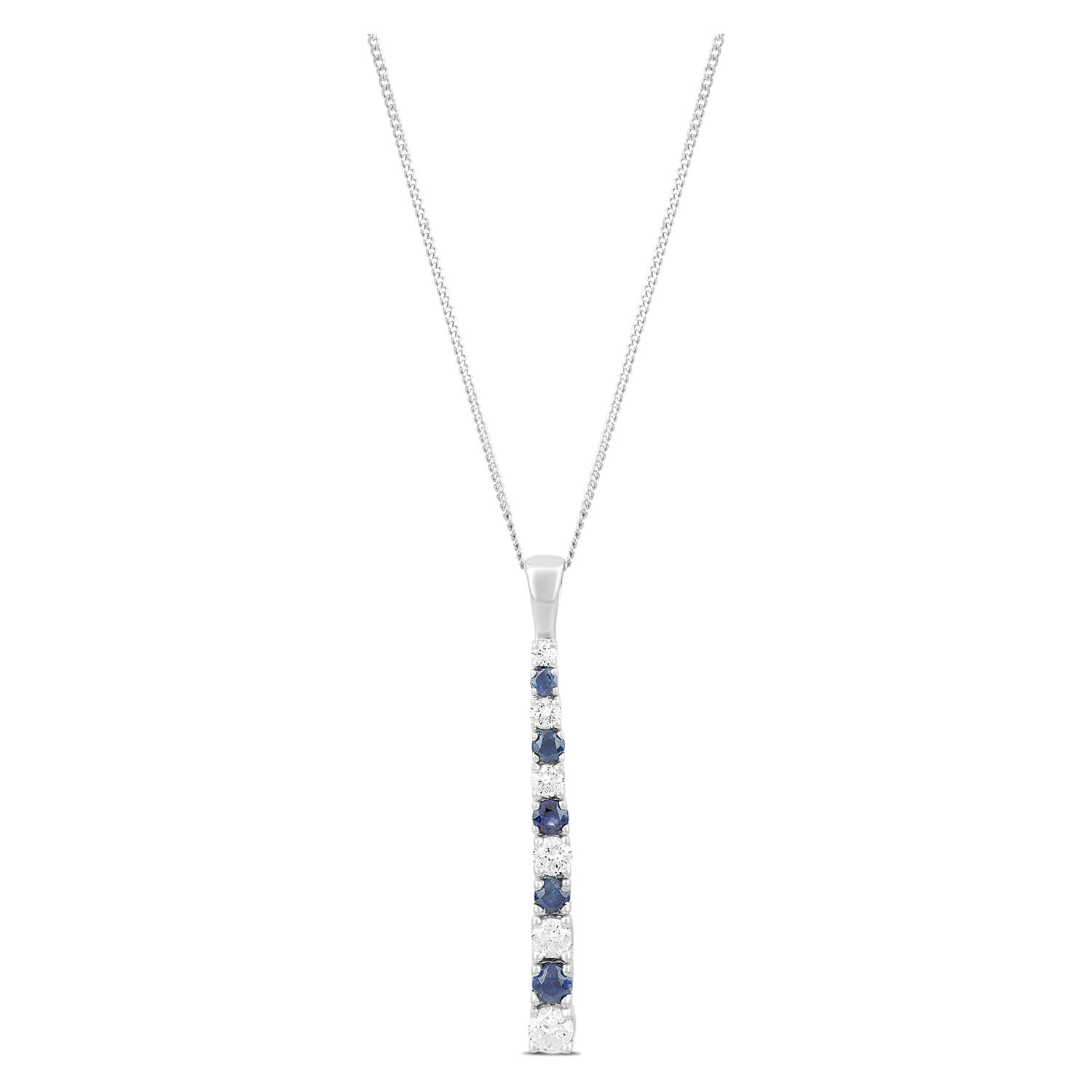 9ct White Gold 0.30ct Diamond and Sapphire Eternity Pendant