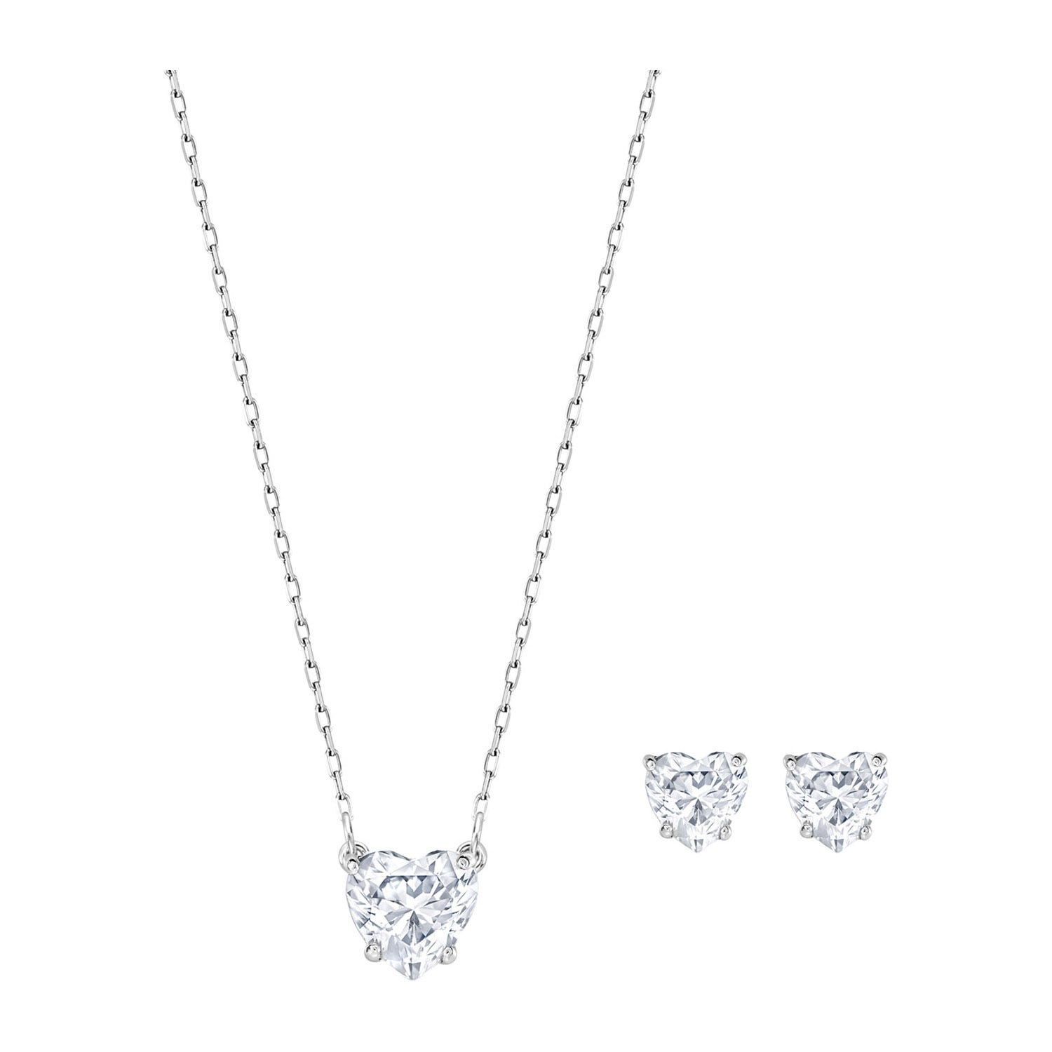 Swarovski Attract Rhodium Plated Heart Necklace and Stud Earrings Set