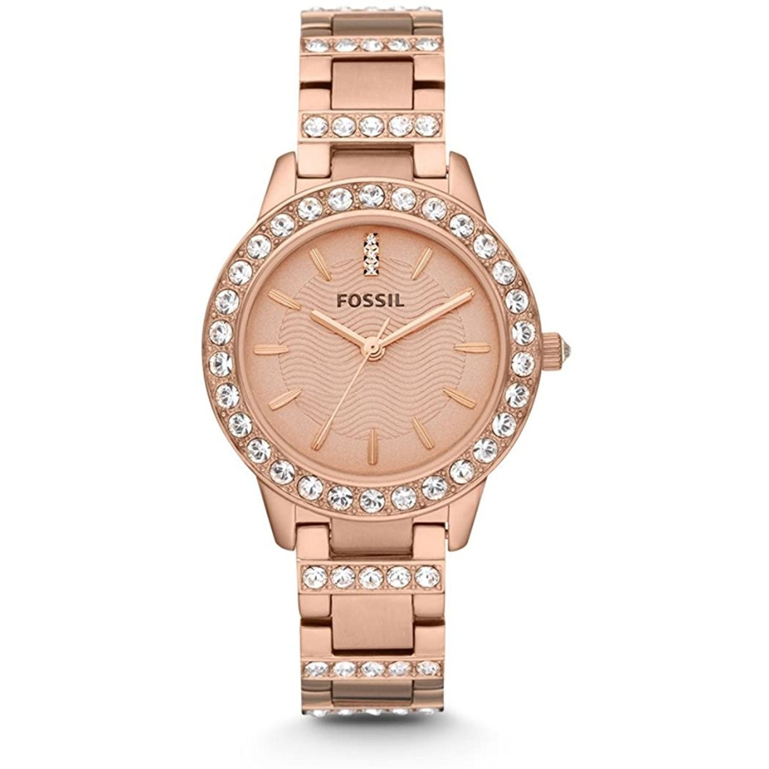 Fossil Jesse Red Gold Plated Rose Dial Glits Rose Bracelet Watch