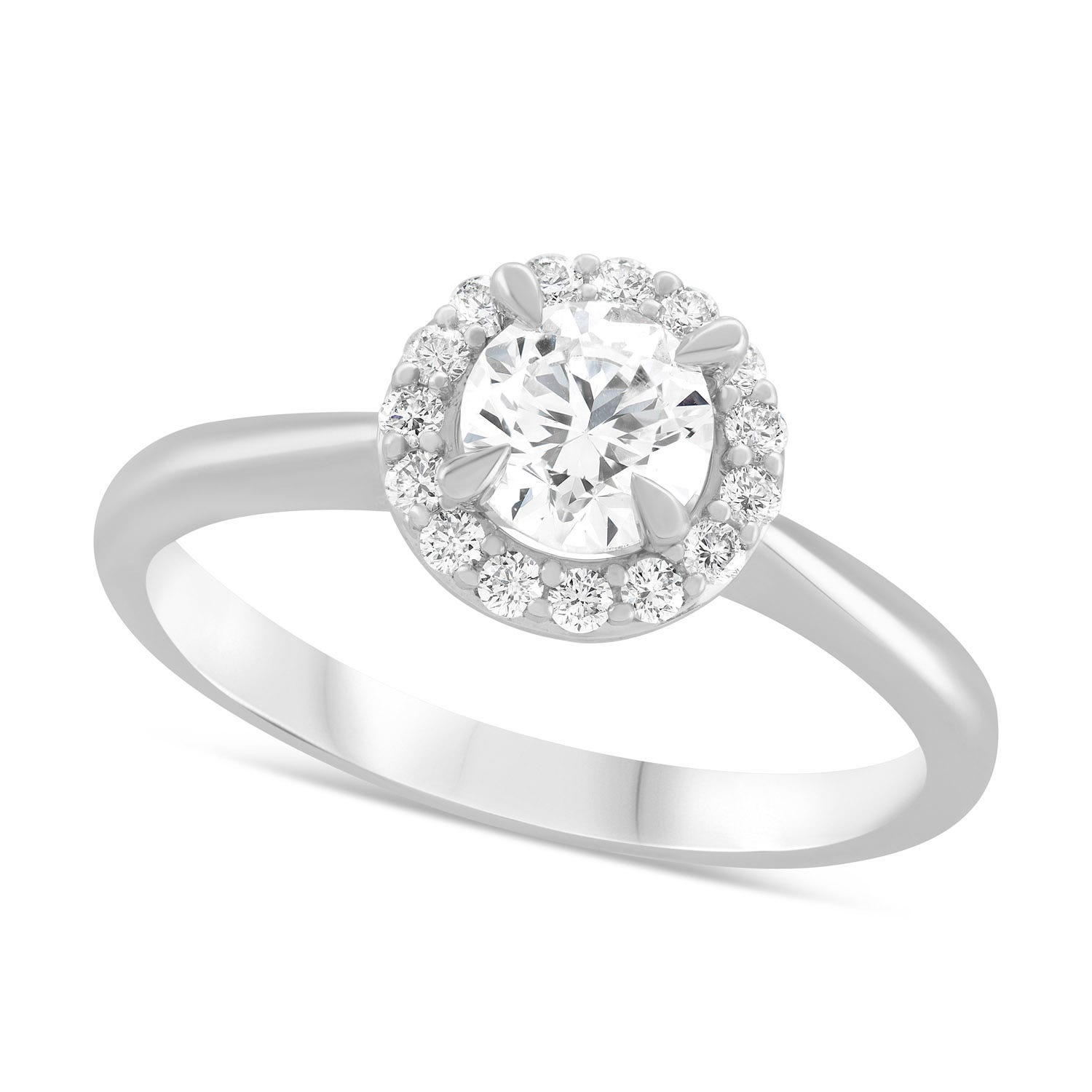 Platinum 0.66ct Amia Diamond Halo Ring