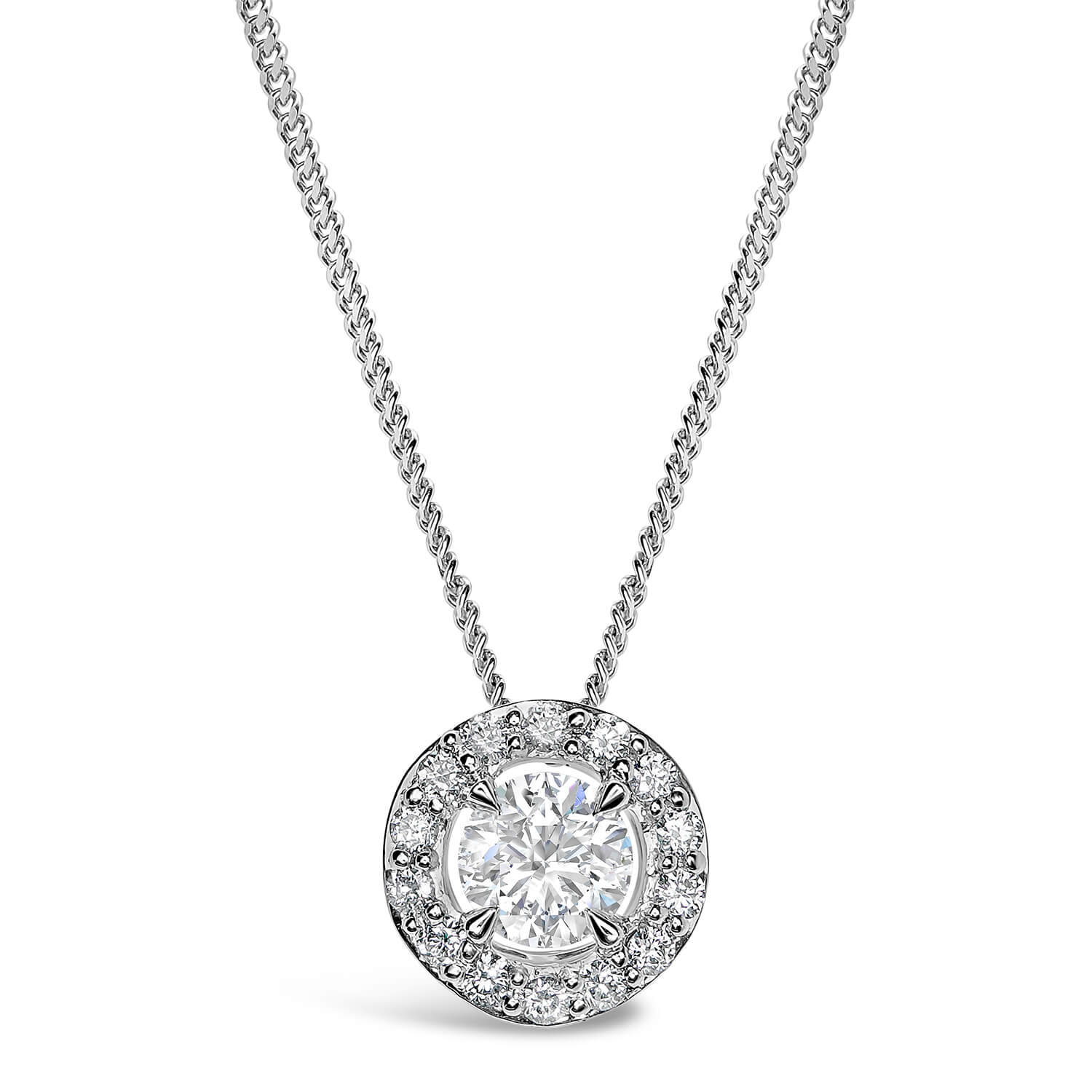 18ct White Gold 0.42ct Amia Diamond Halo Pendant