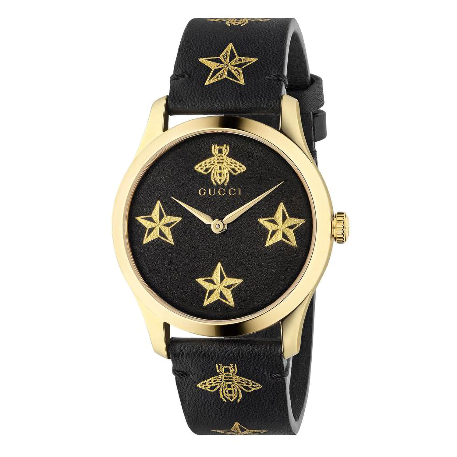 Gucci G-Timeless Quartz Yellow Gold PVD Black Dial Unisex Watch