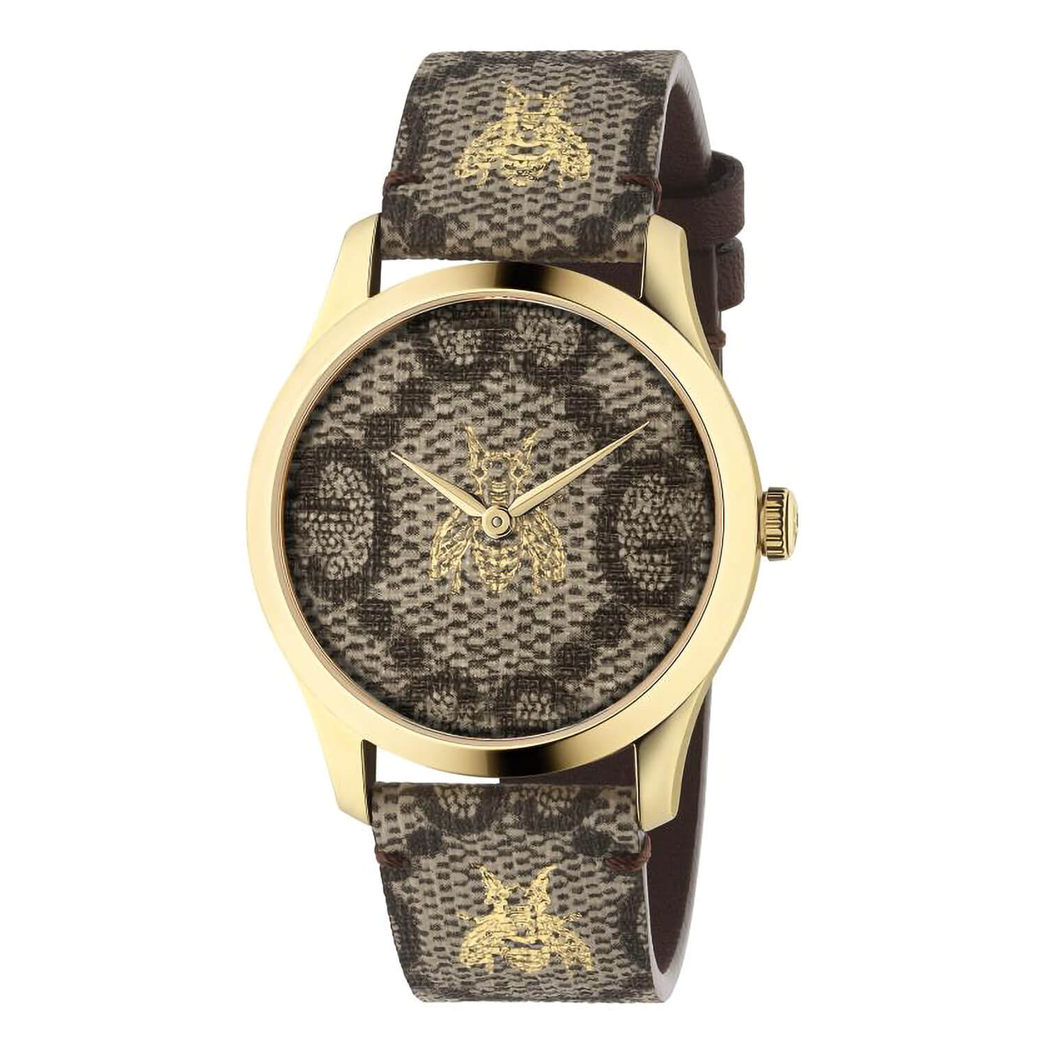 Gucci G-Timeless Bee Dial Brown Leather Strap Ladies' Watch