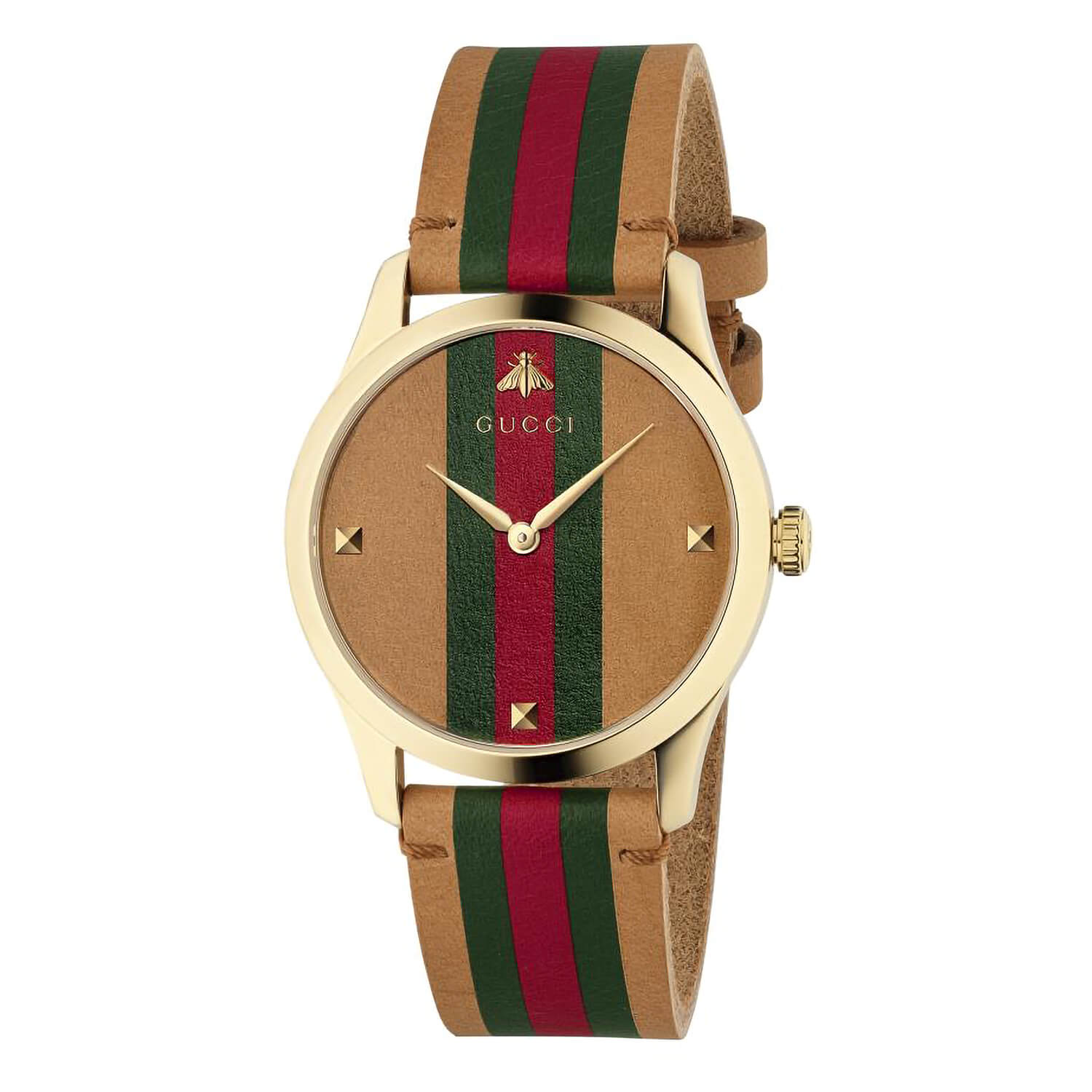 Gucci G-Timeless Striped Leather 38mm Unisex Watch