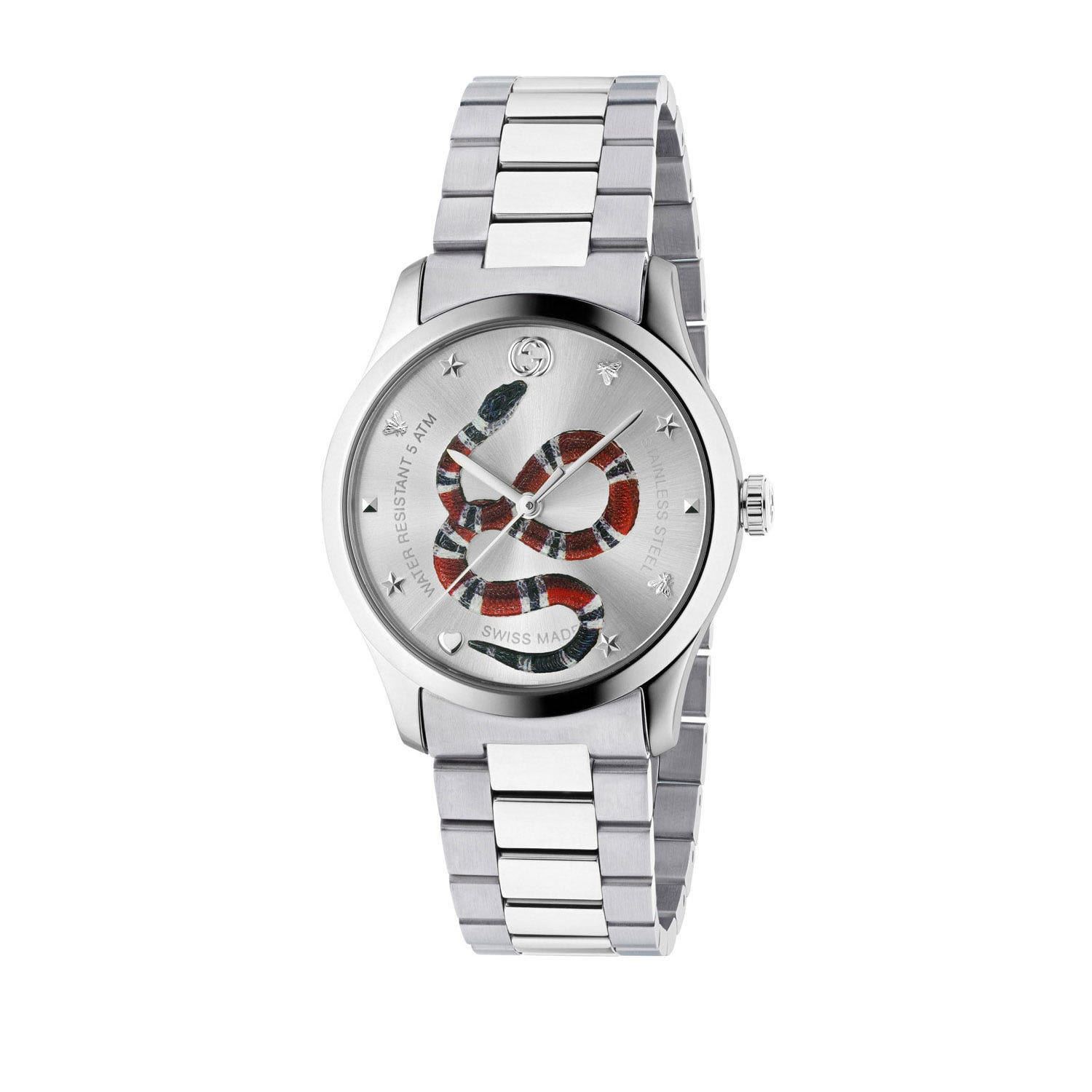 Gucci G-Timeless 38mm Quartz Snake Dial Stainless Steel Men's Watch