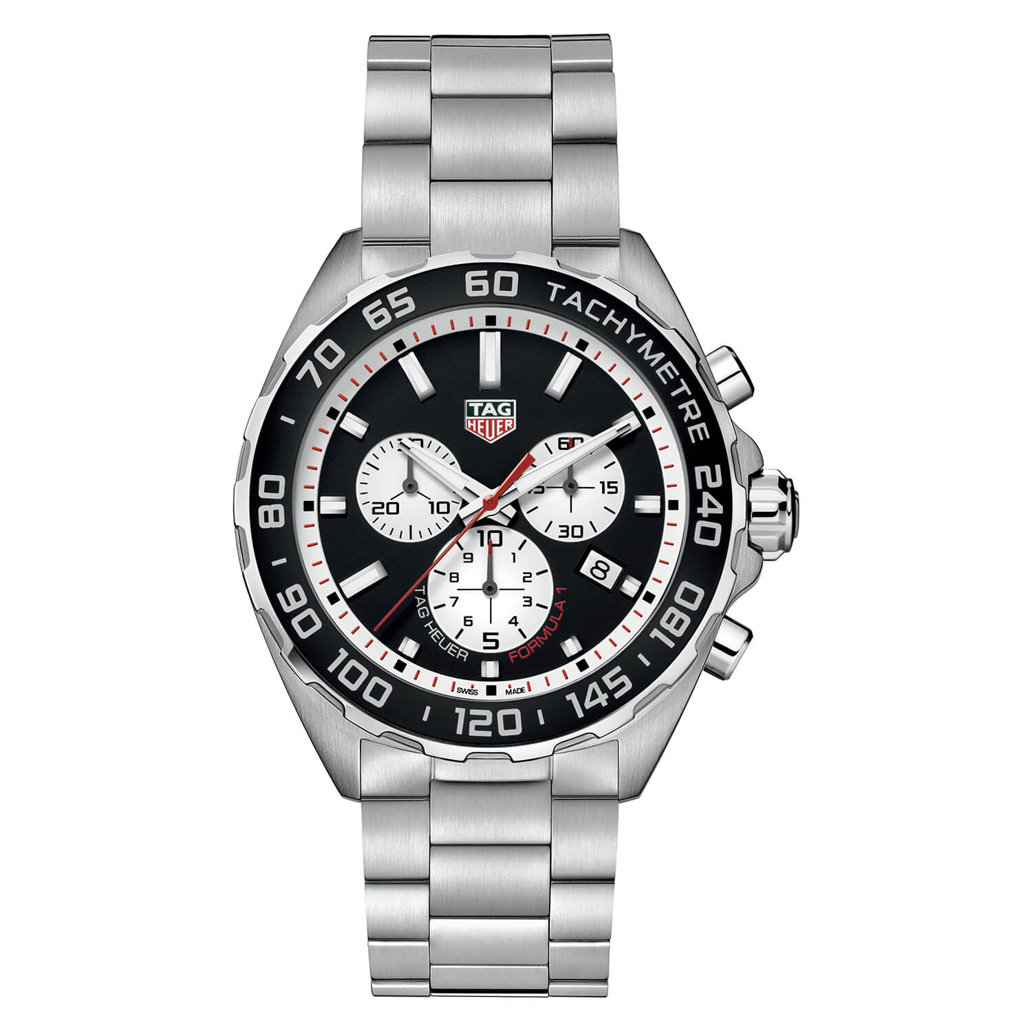 TAG Heuer F1 Tachymetre Black Dial Steel Bracelet Men's Watch