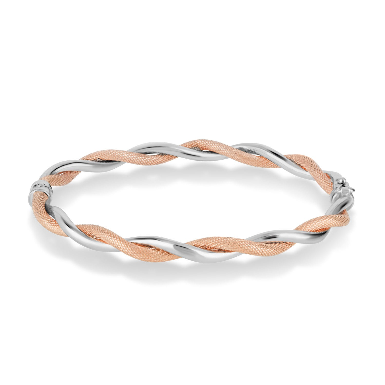 9ct White & Rose Gold Twist Texture Bangle