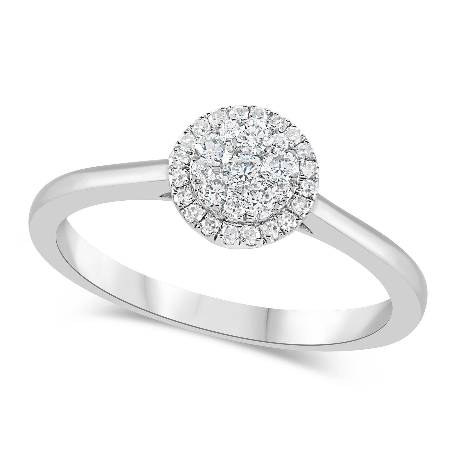Platinum 0.25ct Diamond Halo Cluster Ring