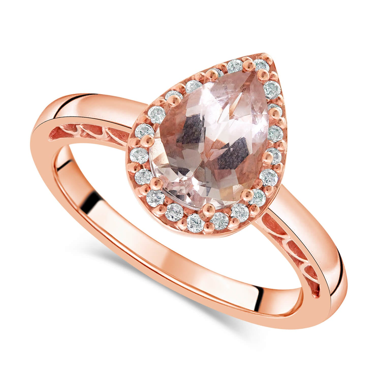 9ct Rose Gold 0.10ct Diamond Halo and Morganite Ring