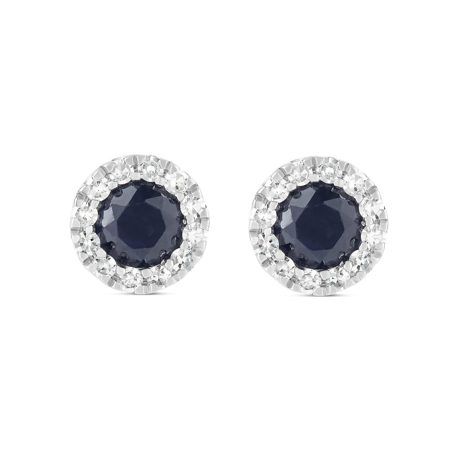 9ct White Gold Sapphire and 0.16ct Diamond Halo Earrings