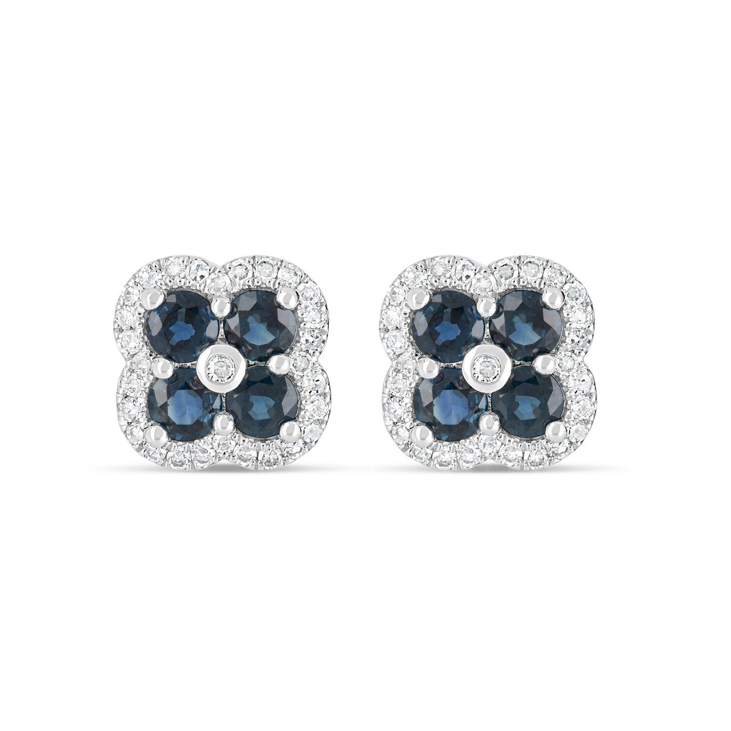 9ct White Gold 0.20ct Diamond Sapphire Cluster Stud Earrings