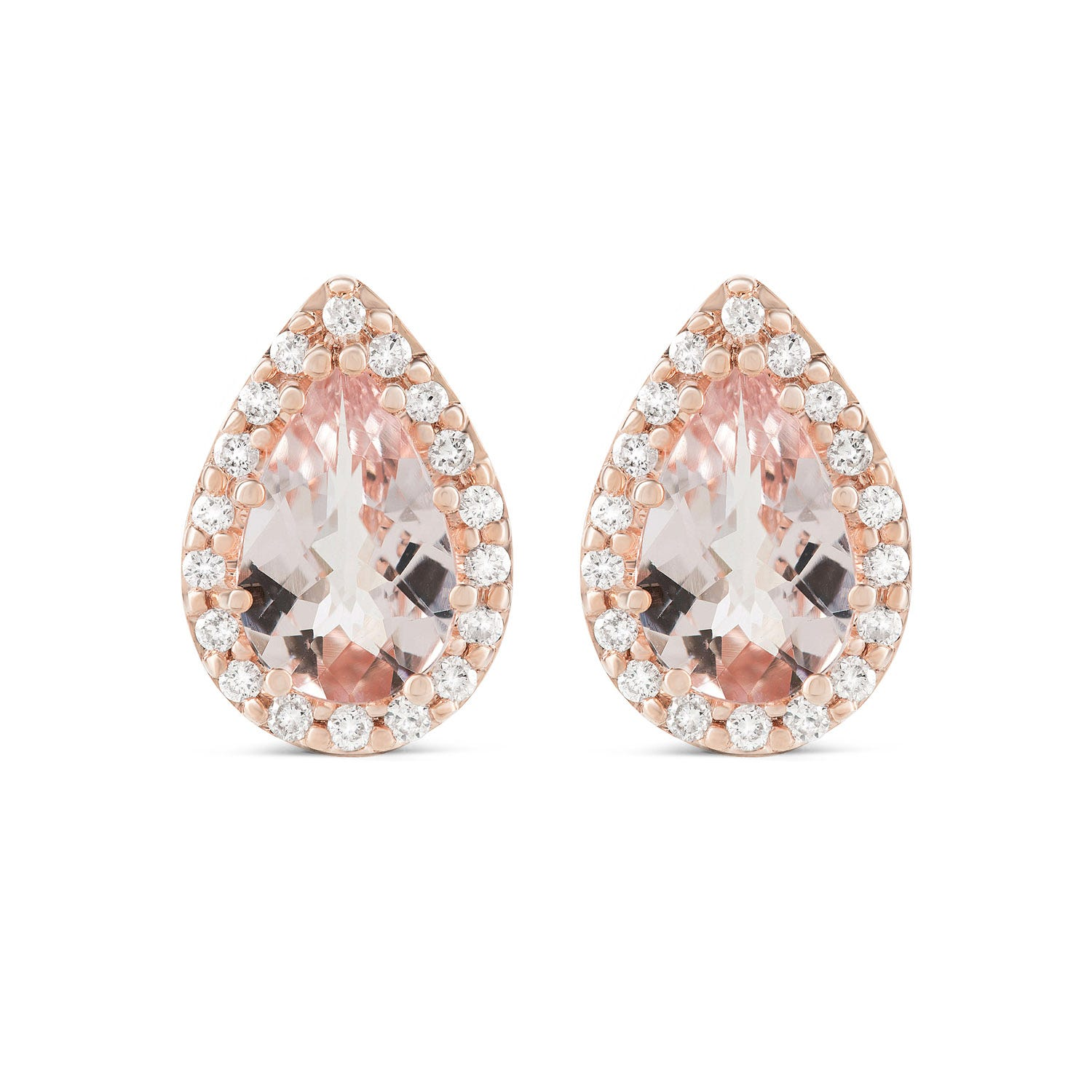 9ct Rose Gold 0.18ct Diamond Halo and Morganite Earrings