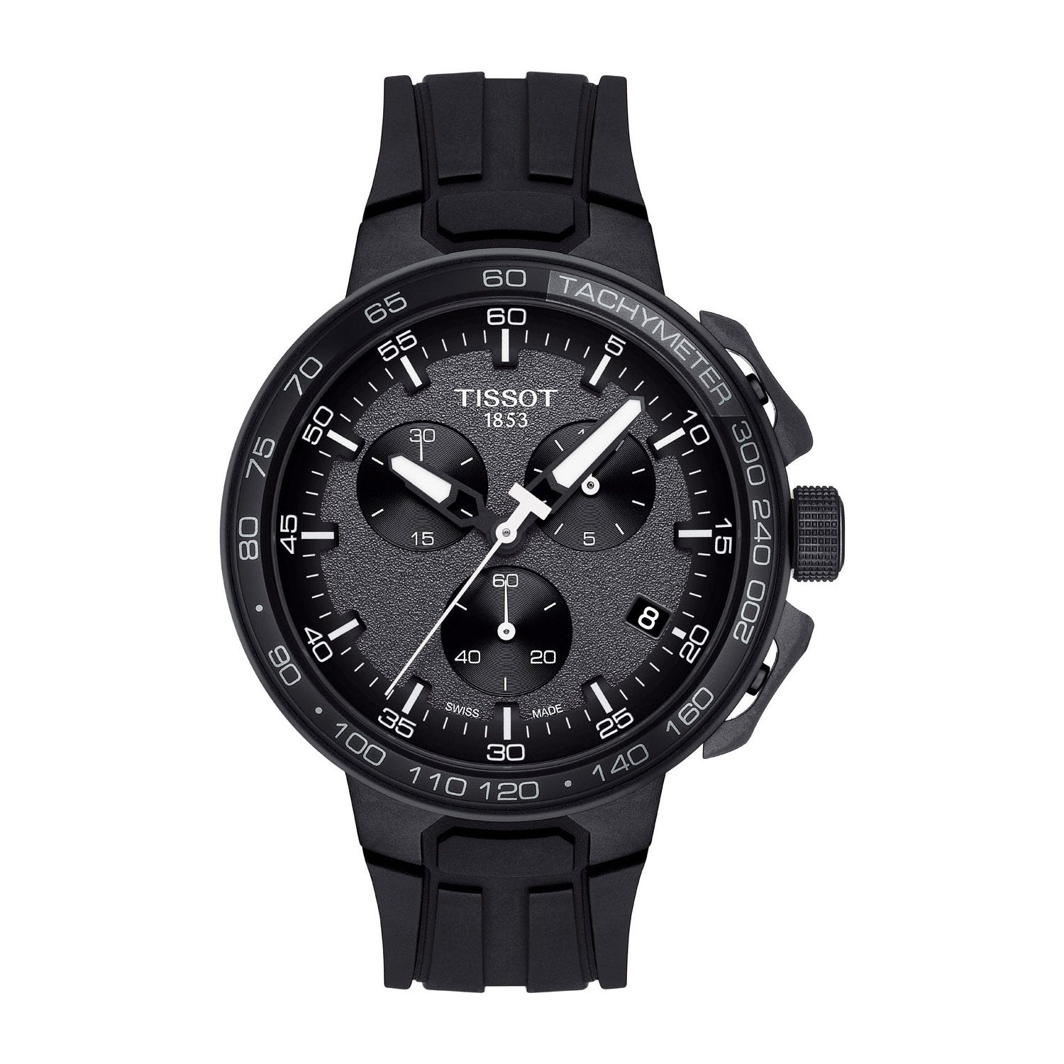 Tissot T-Race Chronograph Black Dial Black Rubber Strap Men's Watch