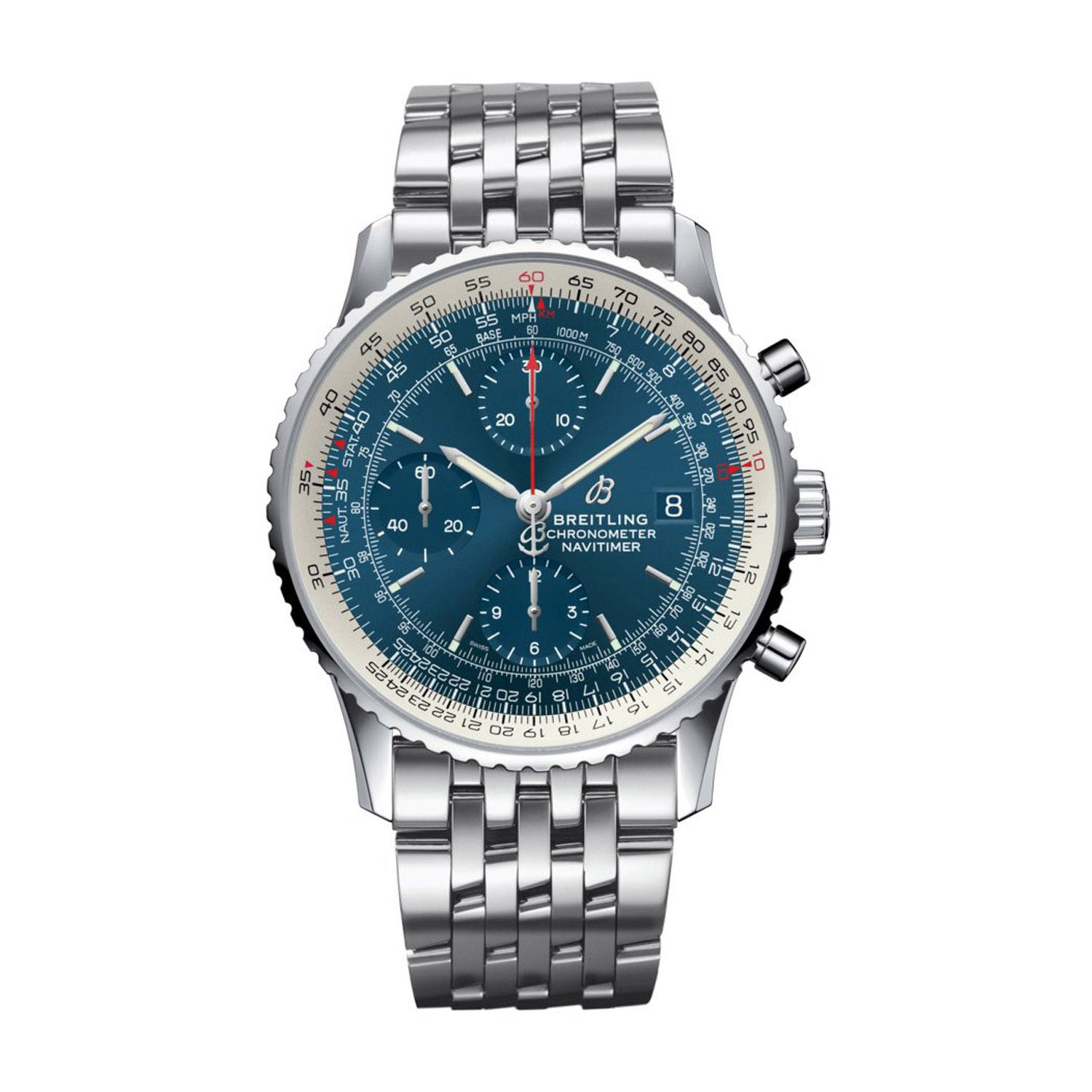 Breitling Navitimer 1 Blue Dial Steel Bracelet Men's Watch