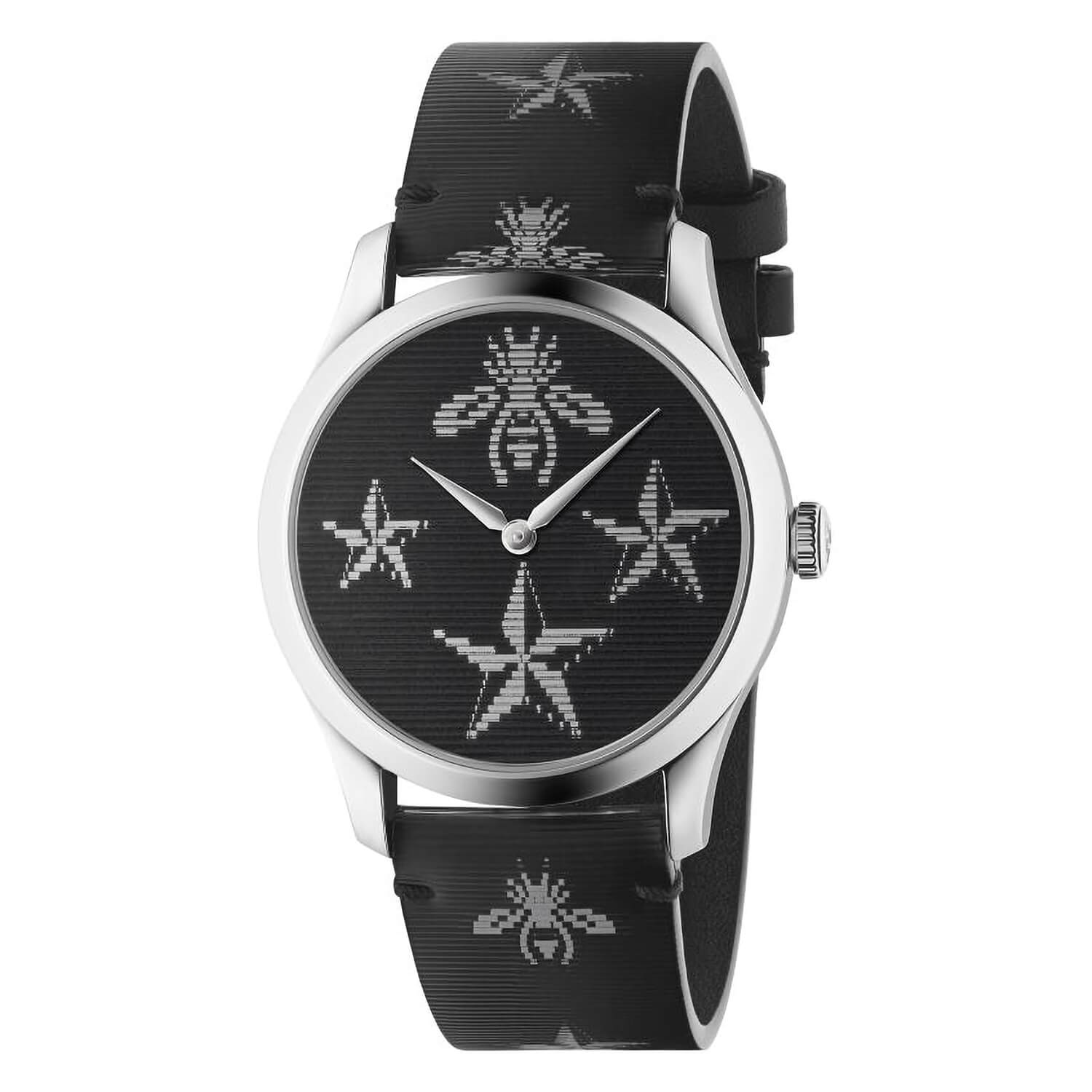 Gucci G-Timeless Black Hologram Leather 38mm Unisex Watch