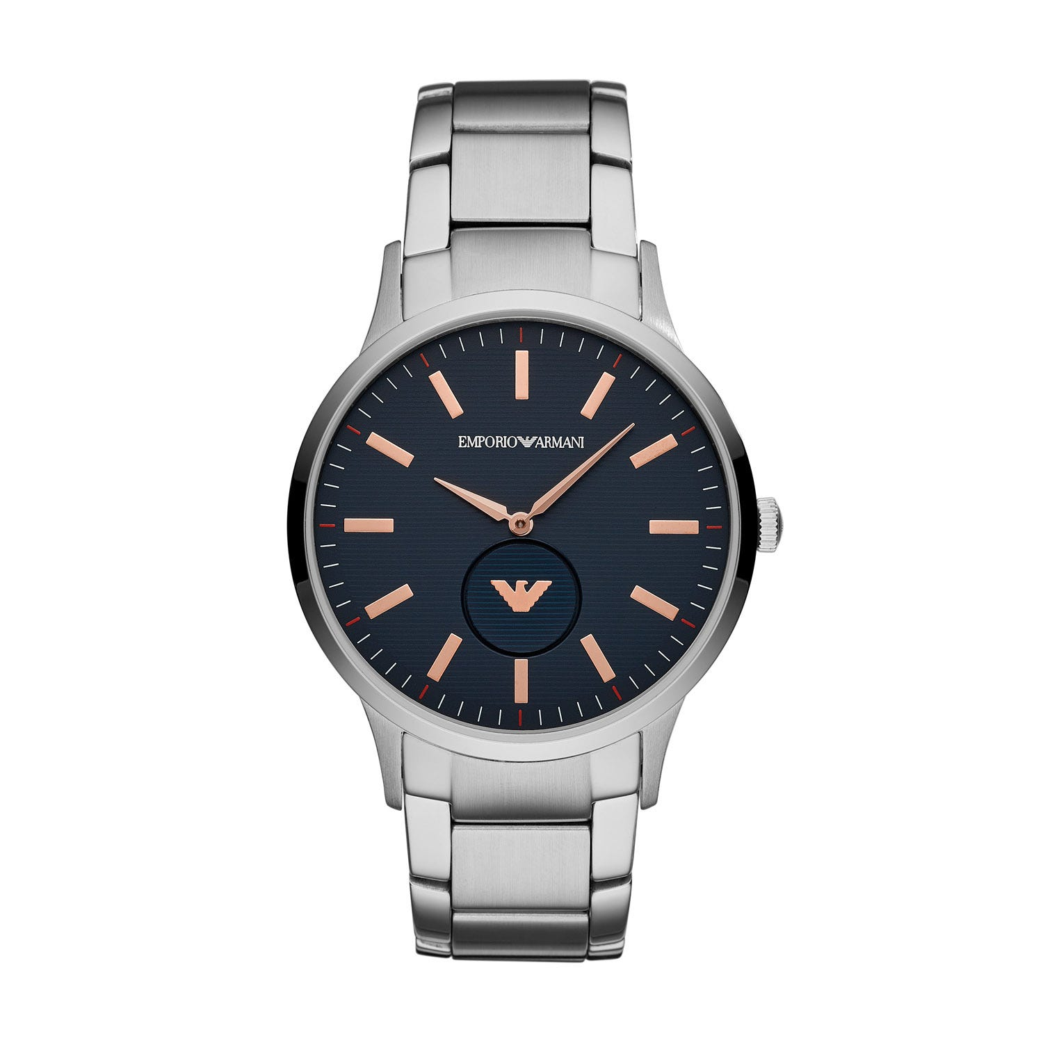 Emporio Armani Blue Dial Stainless Steel Men's Watch