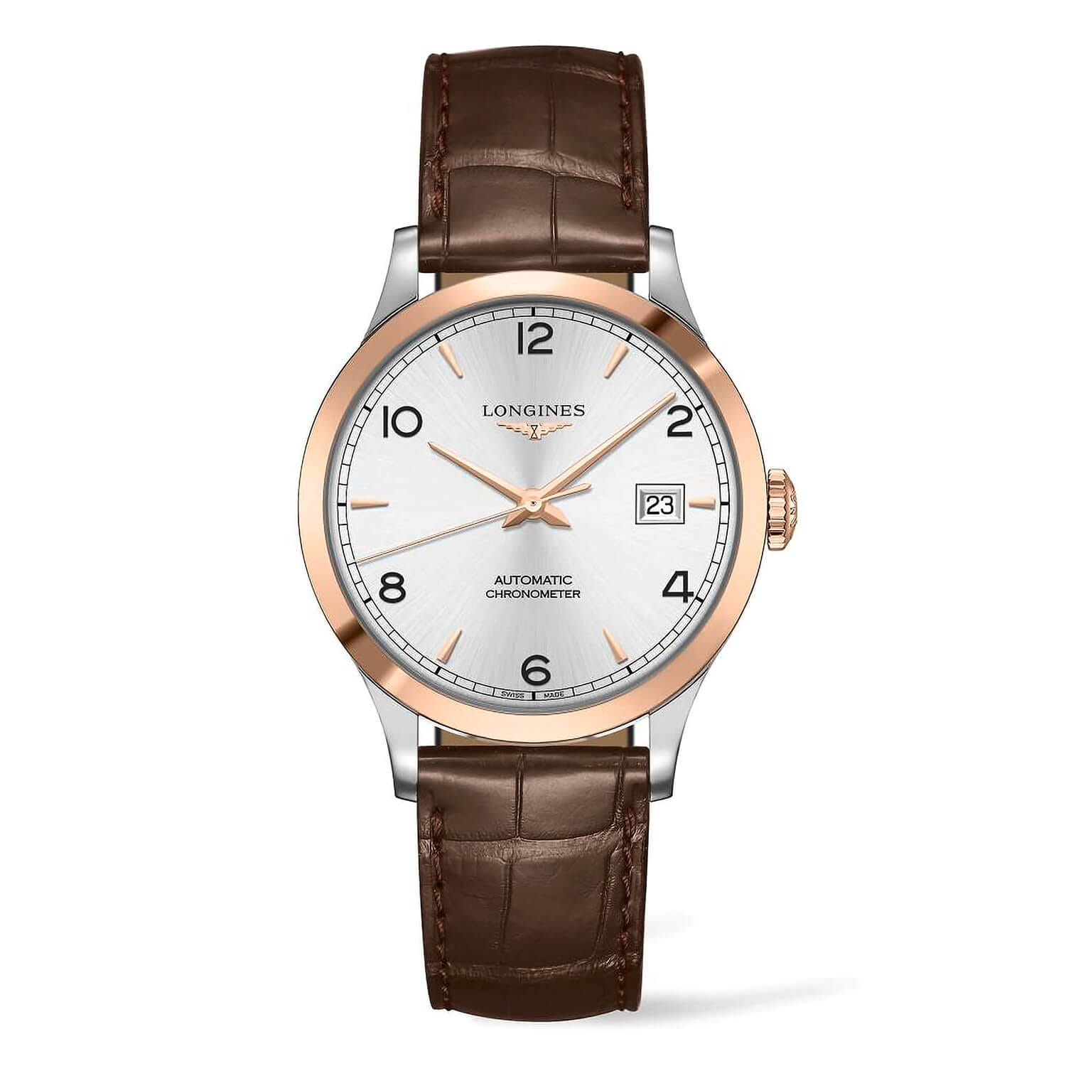 Longines Record Silver Dial Brown Leather Men's Watch