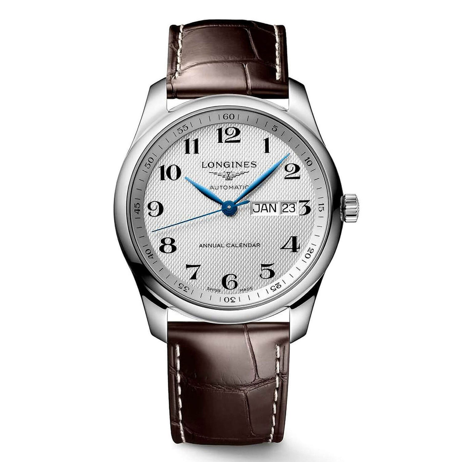 Longines Master Collection Silver Dial Brown Leather Strap Men's Watch