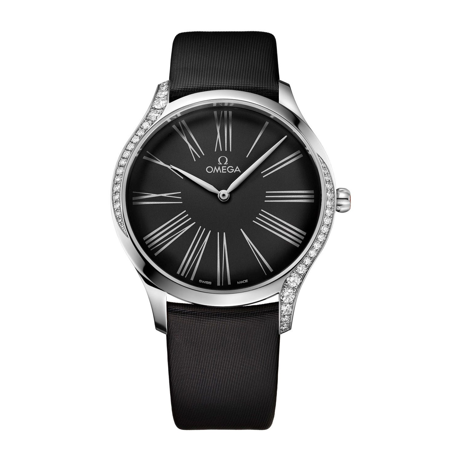 Omega Tresor Diamond Casing Black Dial Fabric Strap Ladies' Watch