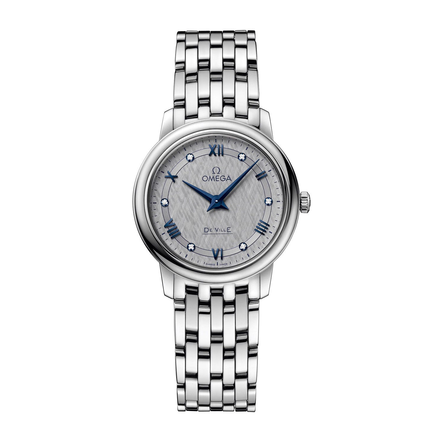 Omega De Ville Prestige Diamond Dial Steel Bracelet Ladies' Watch