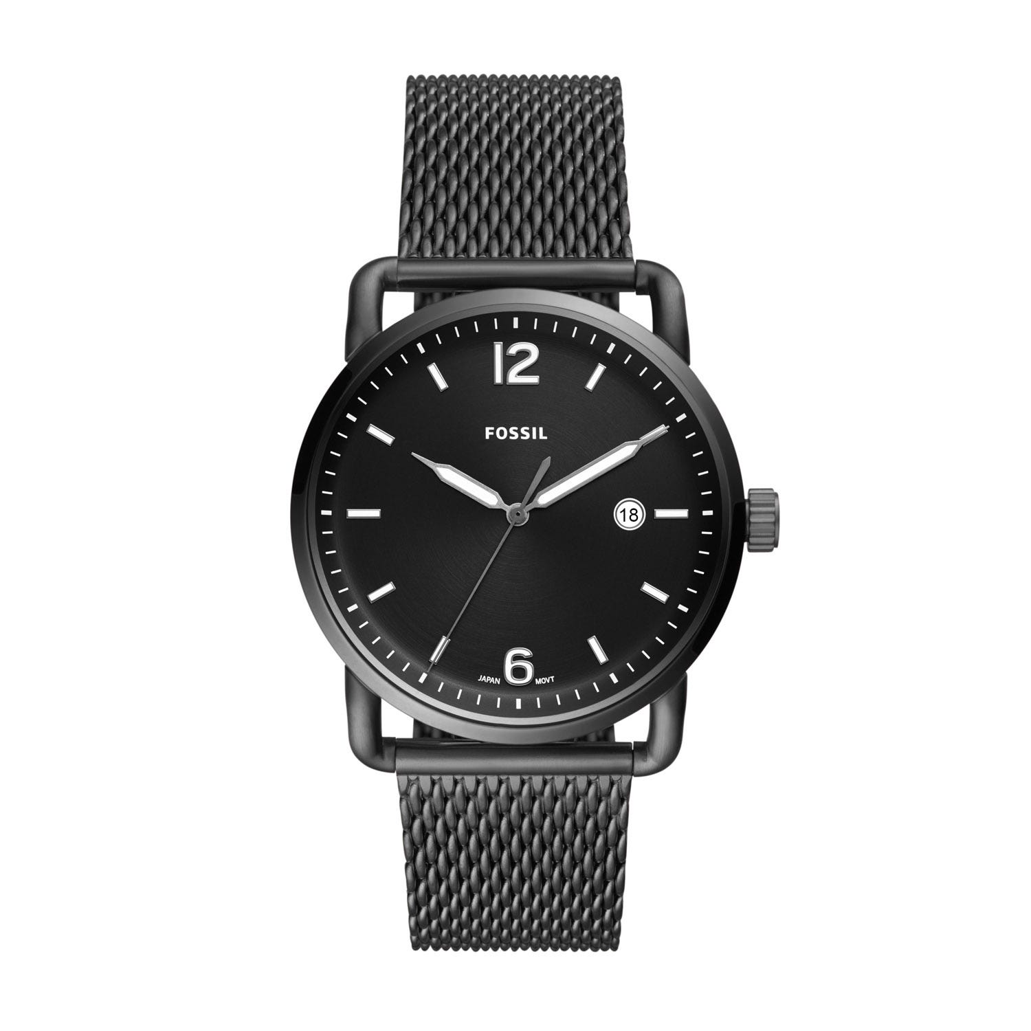 Fossil The Commuter Black Steel 42mm Men's Watch
