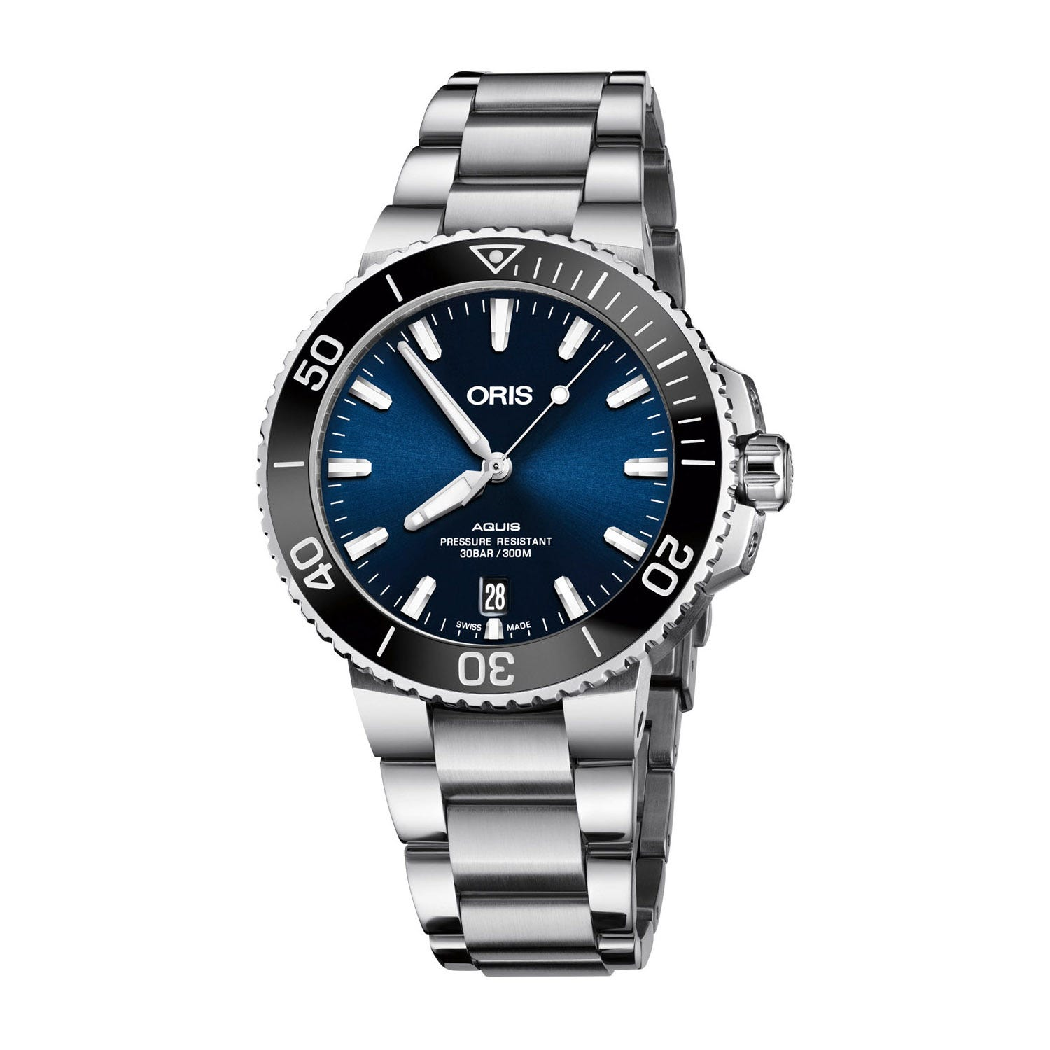 Oris Aquis Date Blue Dial Steel Bracelet Ladies' Watch