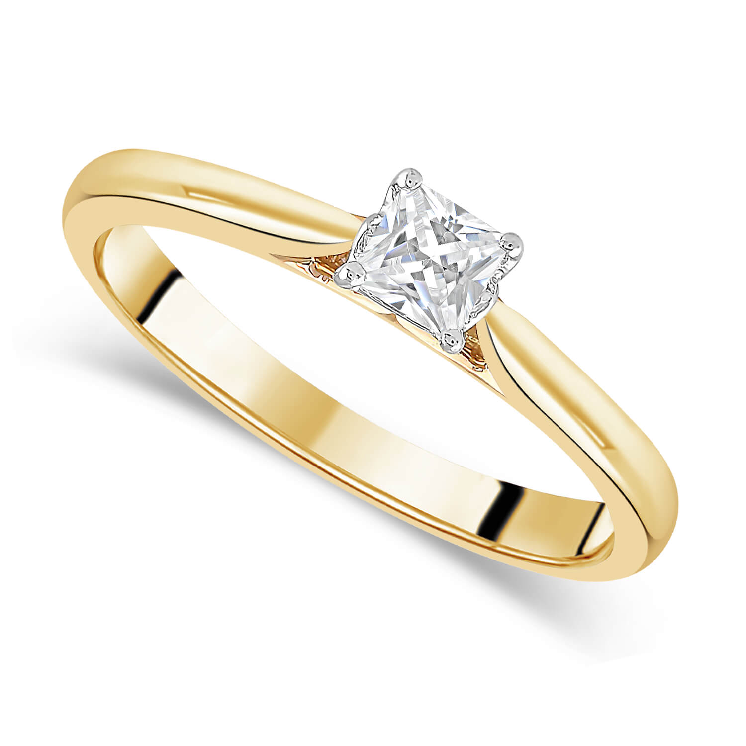 18ct Yellow Gold 0.25ct Princess Diamond Fraser Hart Setting Ring