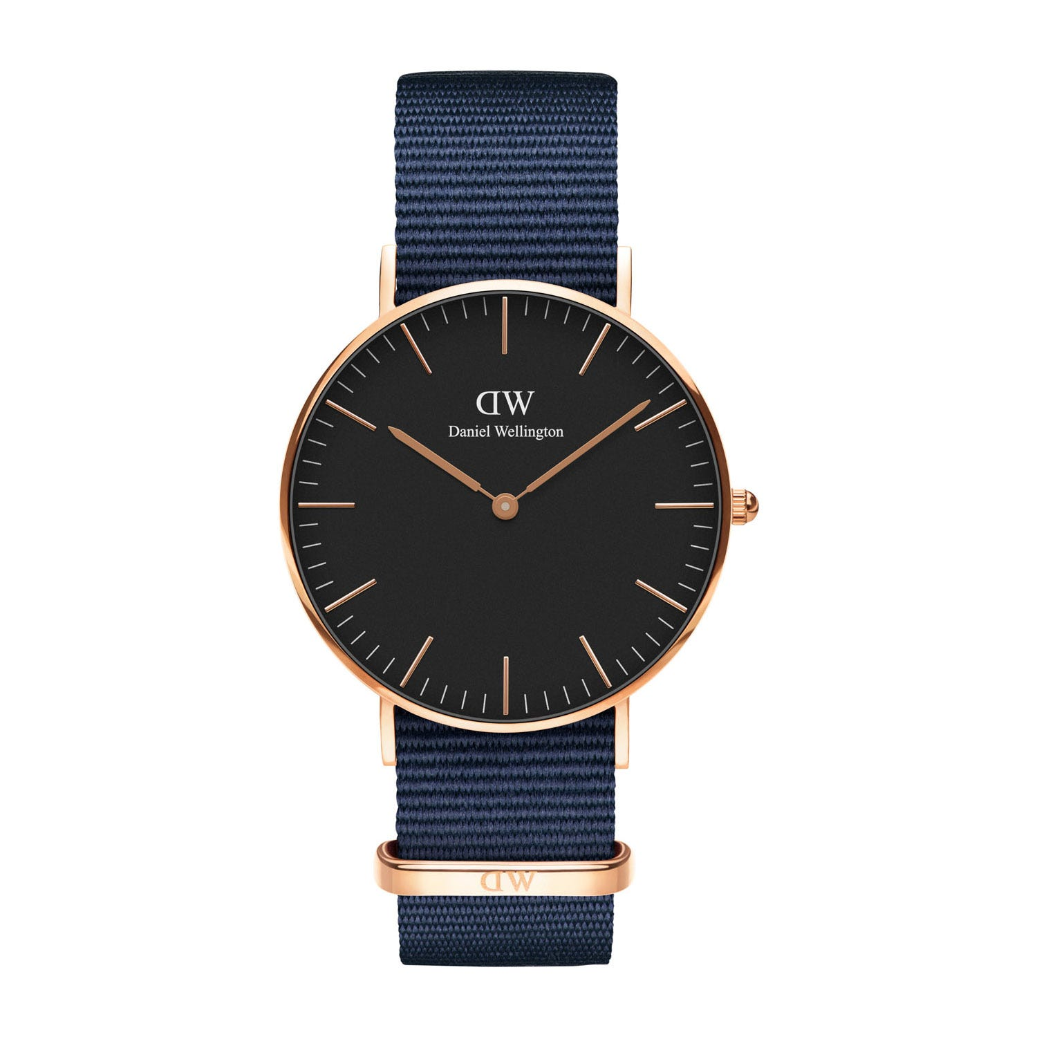 Daniel Wellington Bayswater Gold 36mm Black Dial Sapphire Strap Watch