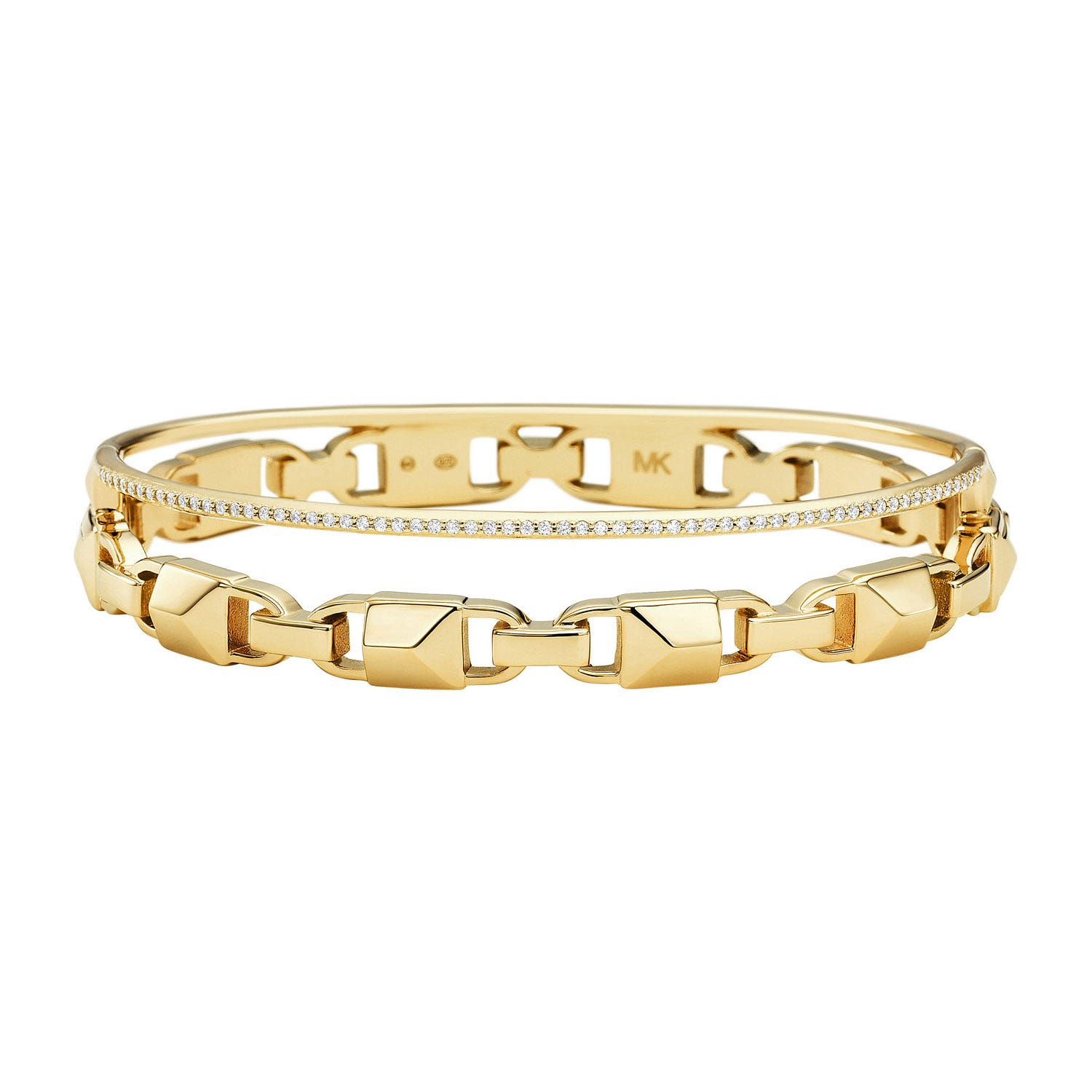 Michael Kors 14ct Yellow Gold-Plated Two Row Bracelet