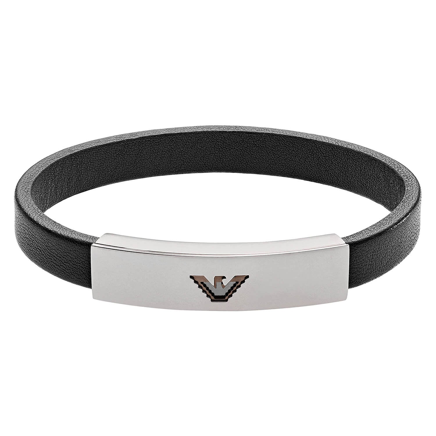 Emporio Armani Signature Black Leather Stainless Steel Logo Bracelet