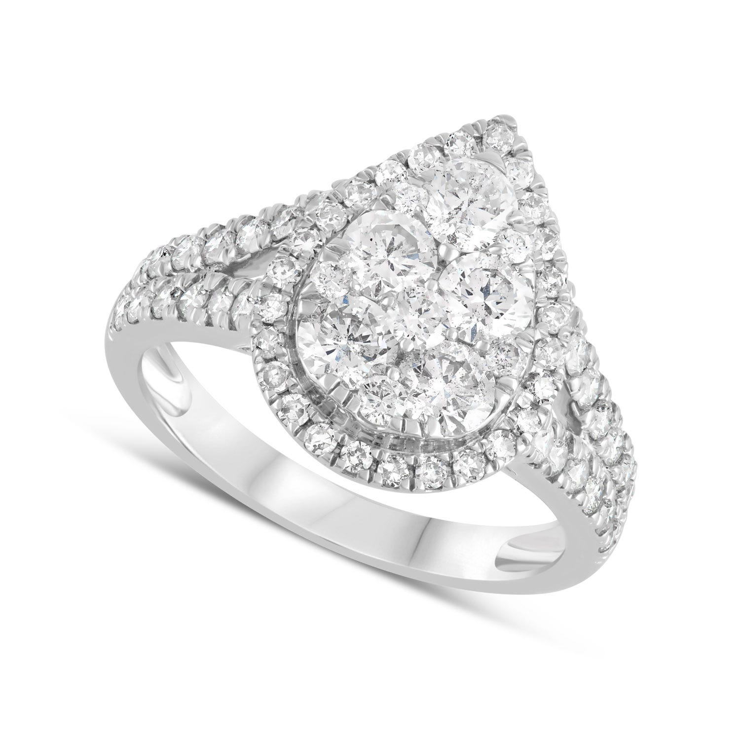 Special Price - 18ct White Gold 1.50ct Diamond Pear Cluster Ring