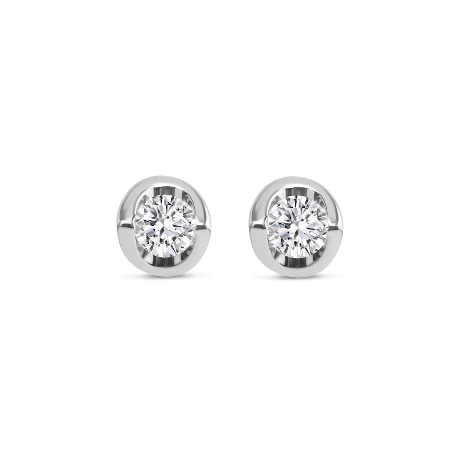 9ct White Gold 0.15ct Diamond Mirror Setting Stud Earrings