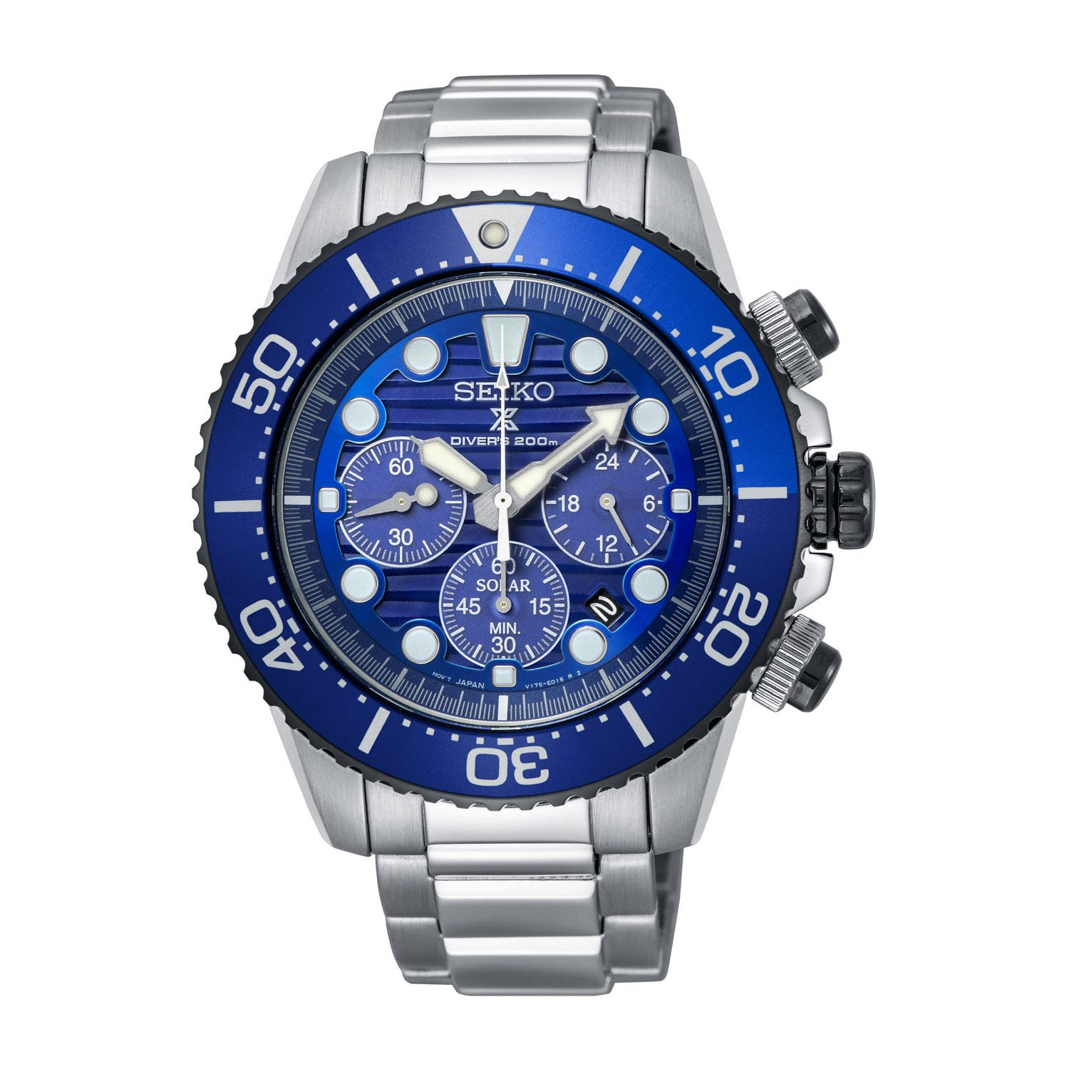 Seiko Prospex Solar Chronograph Steel 44mm Men's Watch