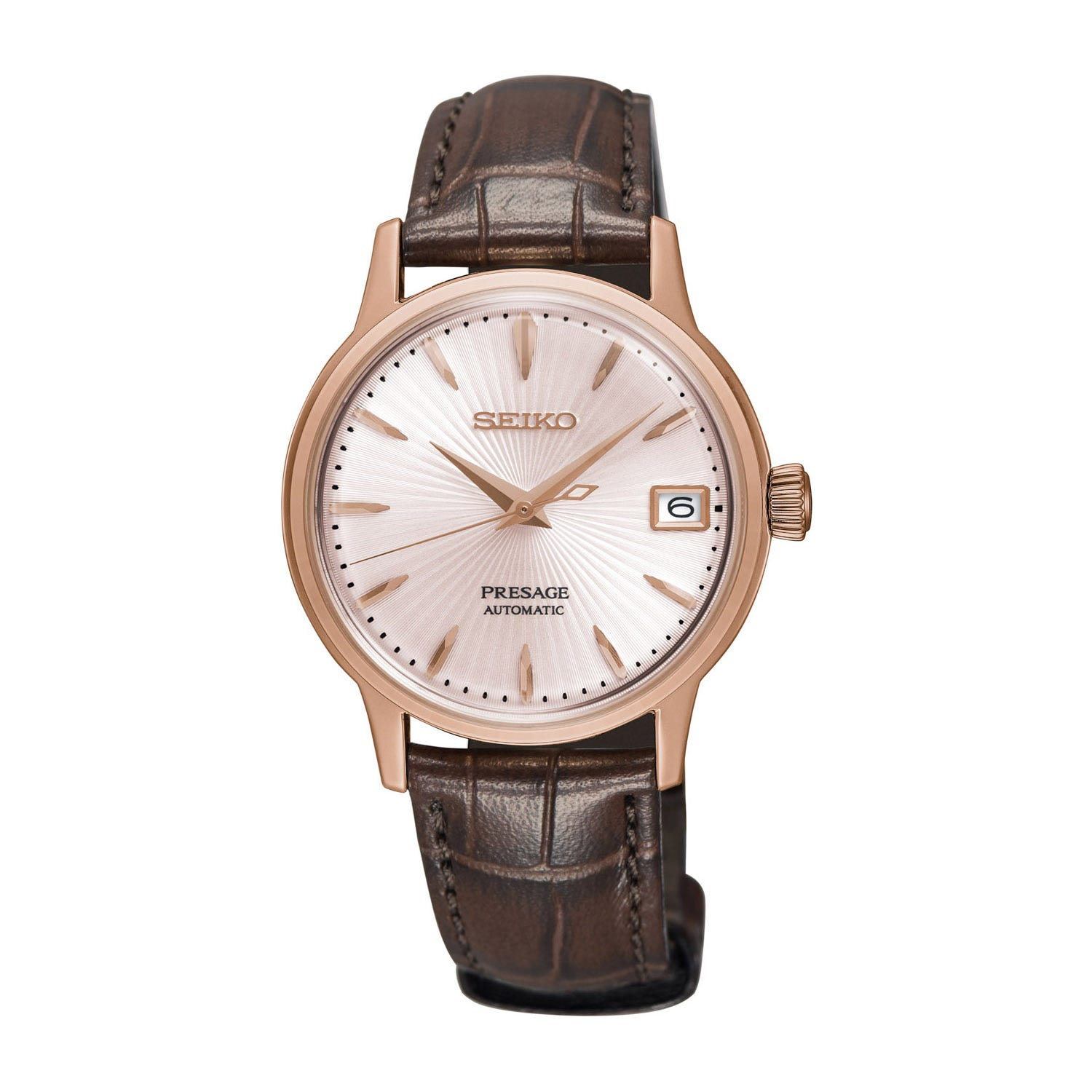 Seiko Presage Pink Dial Brown Leather 34mm Ladies' Watch