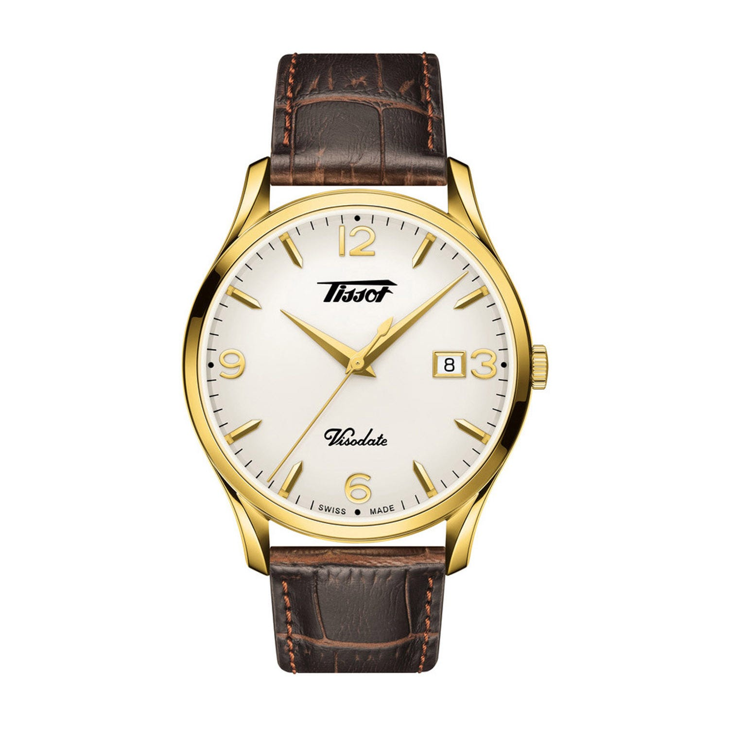 Tissot Visodate Steel & Brown Leather 40mm Men's Watch