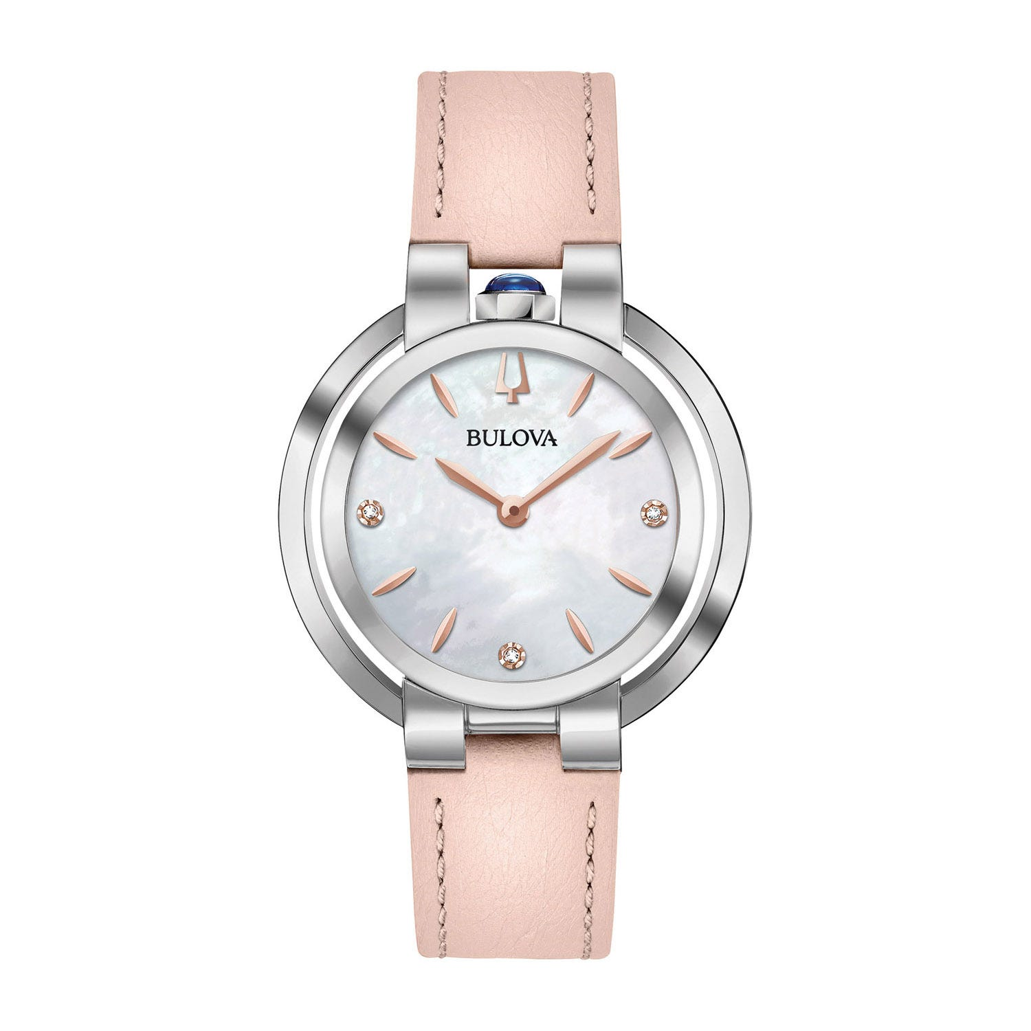 Bulova Diamond & Pearl Pink Leather 35mm Ladies' Watch