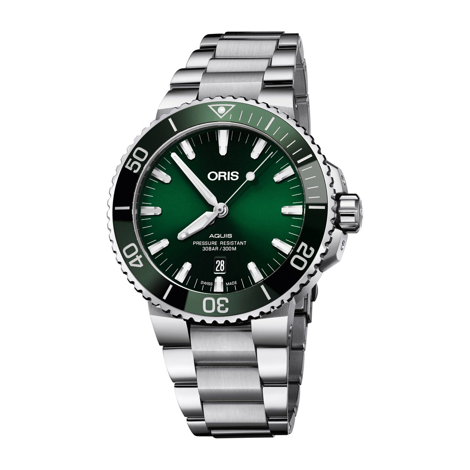 Oris Aquis Date Green Steel 44mm Men's Watch