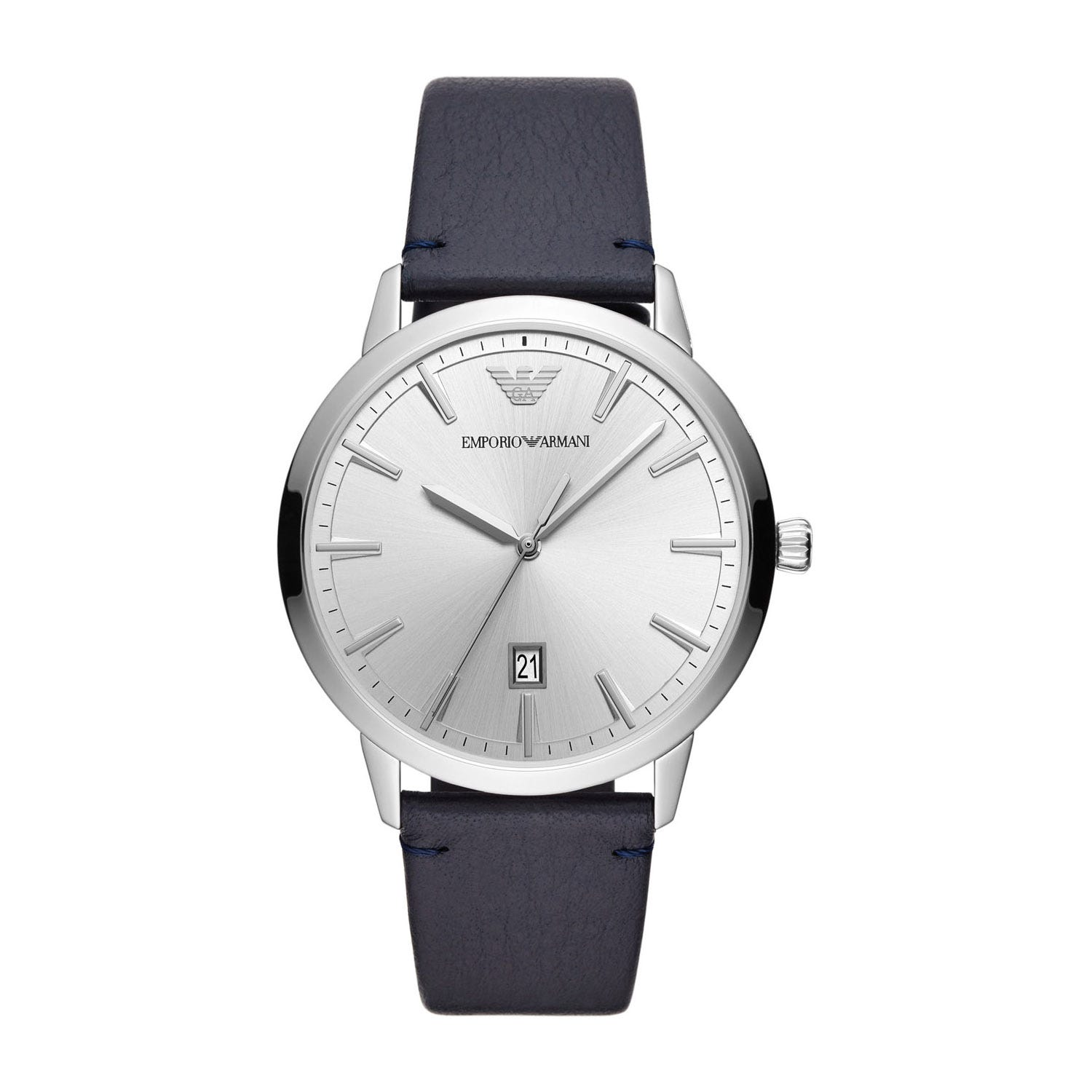 Emporio Armani Silver Dial Blue Leather 38mm Men's Watch