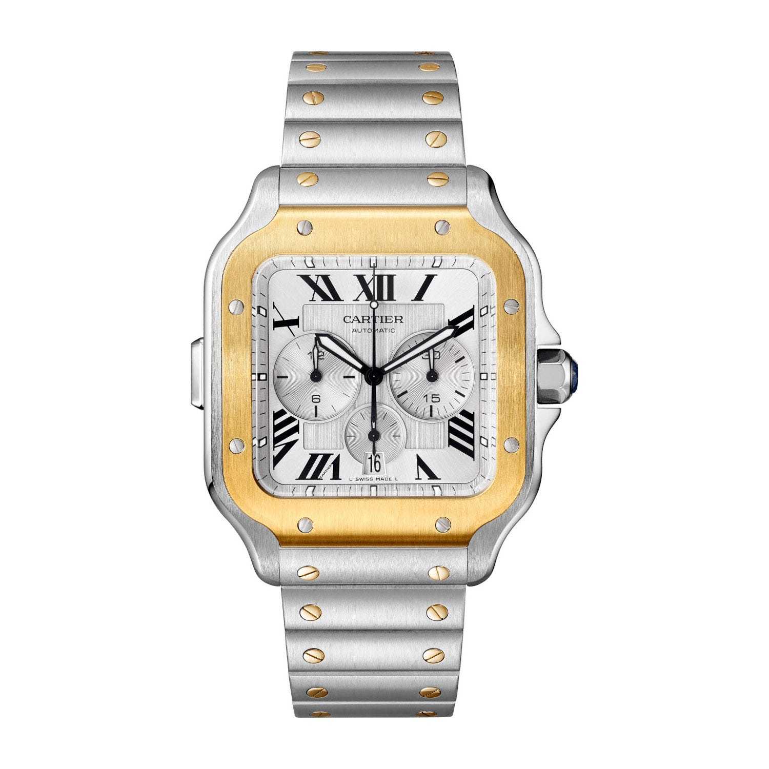 Cartier Santos Chronograph 43.3mm Silver Dial 18ct Yellow Gold Steel Case Bracelet Watch